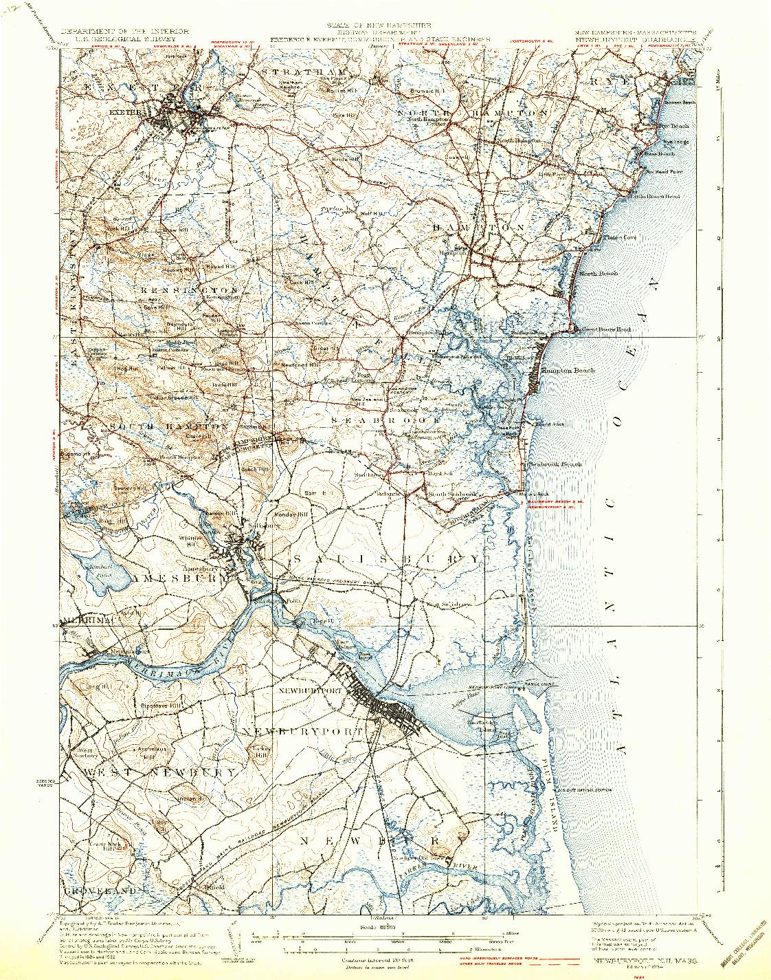 USGS 1:62500-SCALE QUADRANGLE FOR NEWBURYPORT, NH 1934