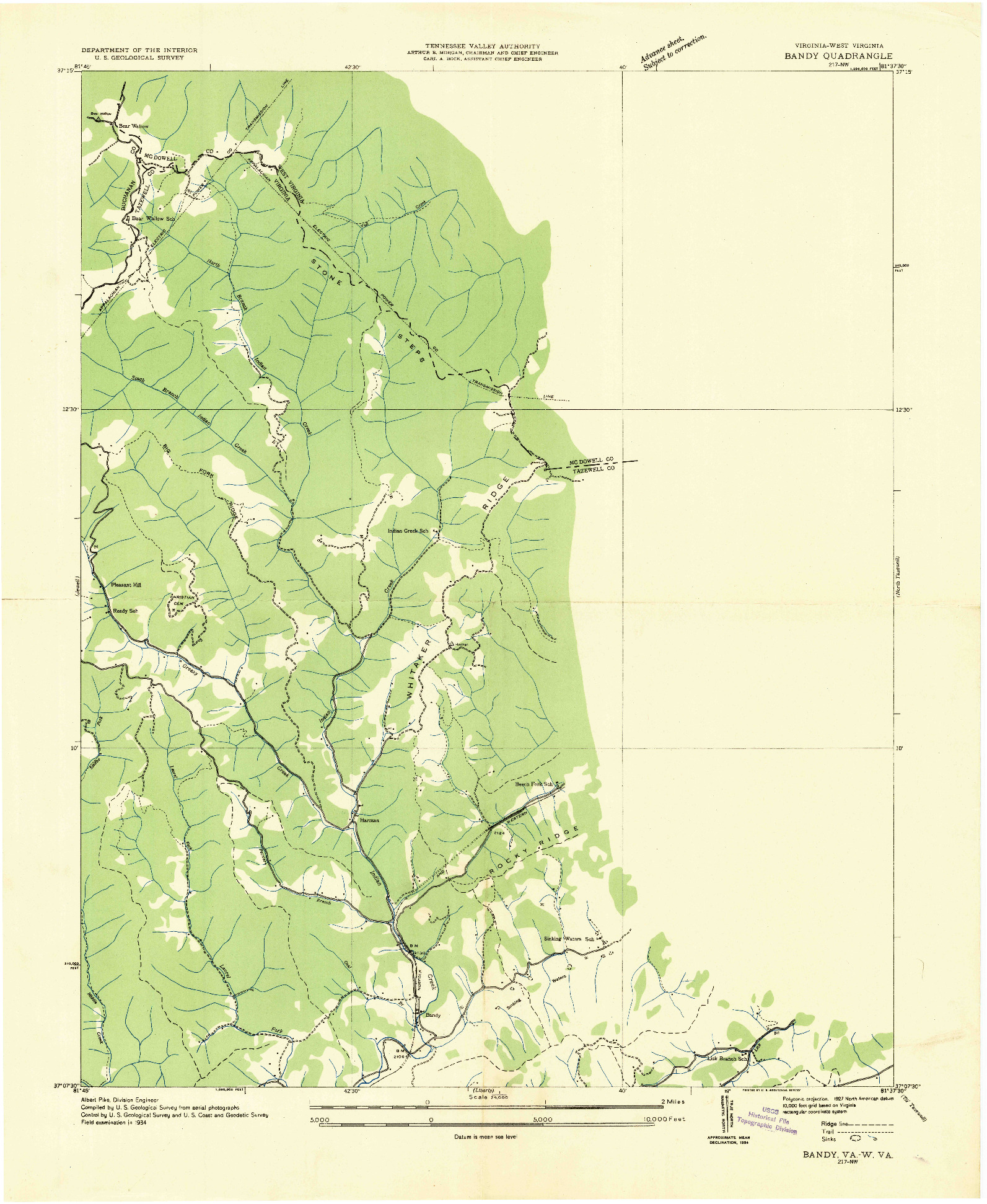 USGS 1:24000-SCALE QUADRANGLE FOR BANDY, VA 1934