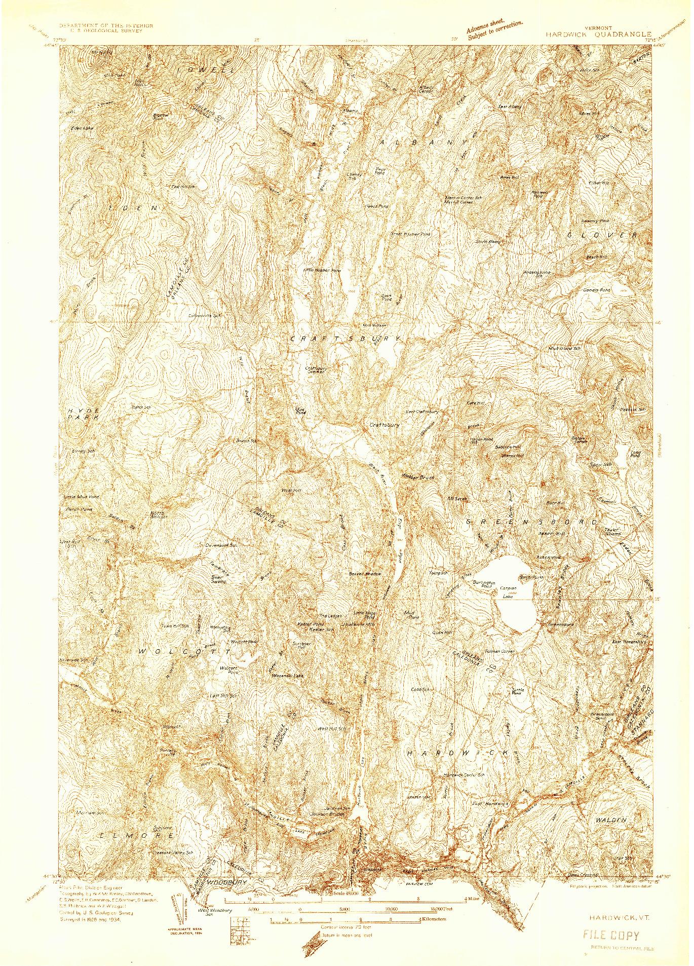 USGS 1:48000-SCALE QUADRANGLE FOR HARDWICK, VT 1934