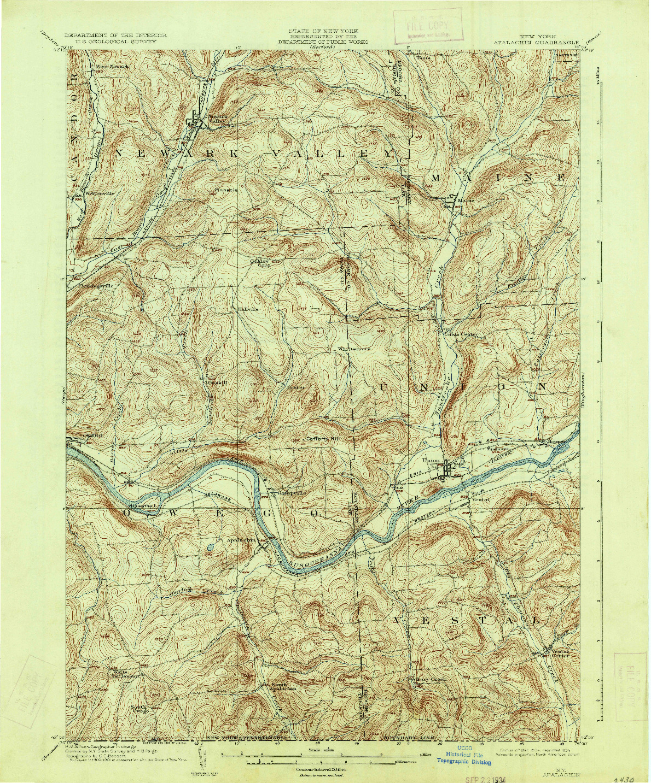 USGS 1:62500-SCALE QUADRANGLE FOR APALACHIN, NY 1904