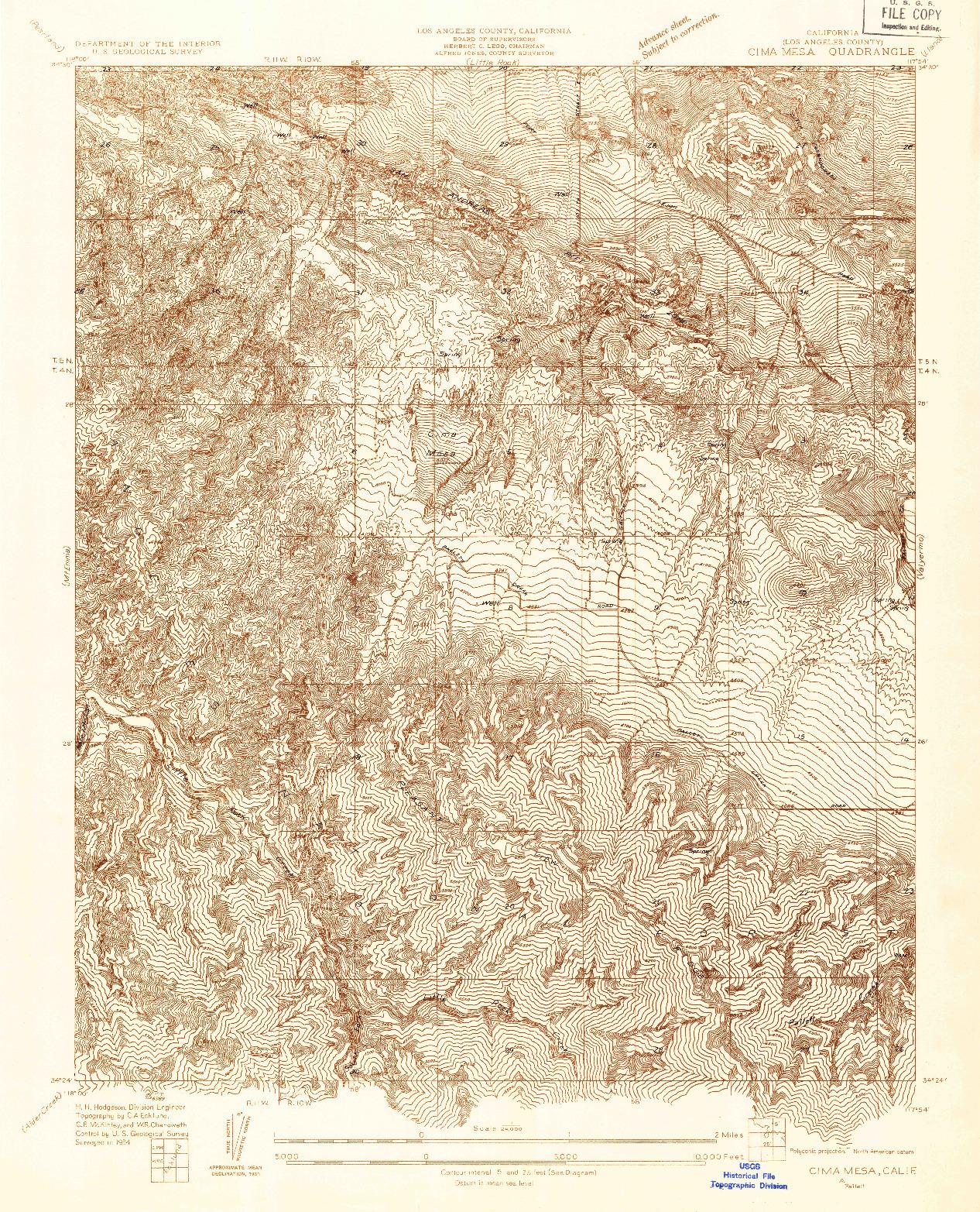 USGS 1:24000-SCALE QUADRANGLE FOR CIMA MESA, CA 1934