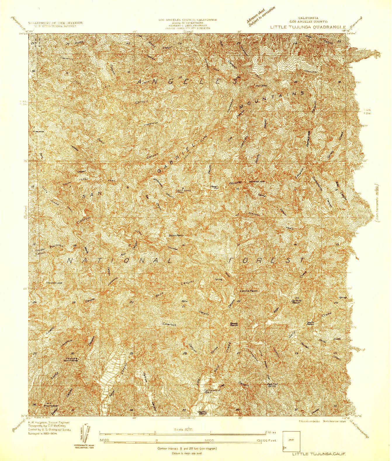 USGS 1:24000-SCALE QUADRANGLE FOR LITTLE TUJUNGA, CA 1934