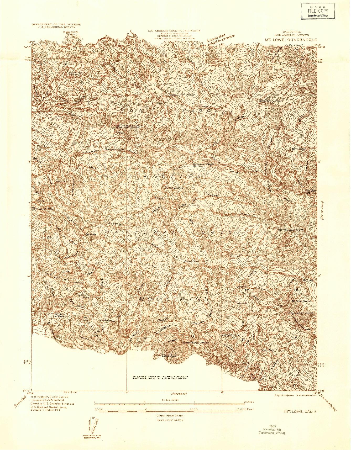 USGS 1:24000-SCALE QUADRANGLE FOR MT. LOWE, CA 1934