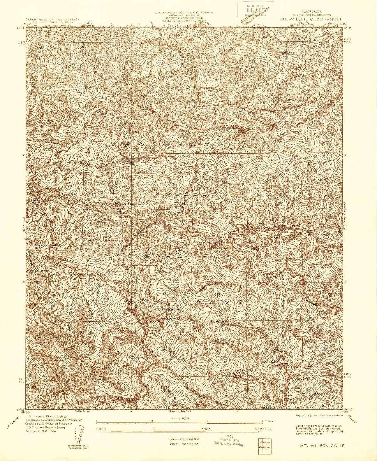 USGS 1:24000-SCALE QUADRANGLE FOR MT. WILSON, CA 1934