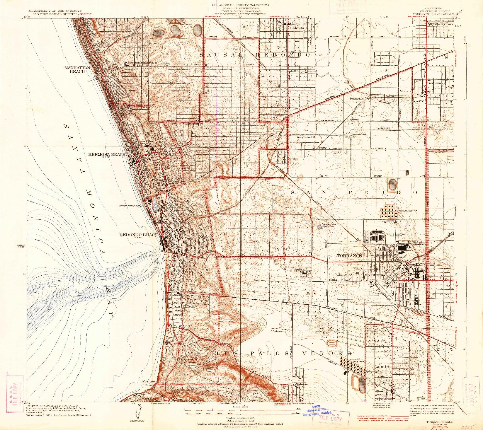 USGS 1:24000-SCALE QUADRANGLE FOR TORRANCE, CA 1934