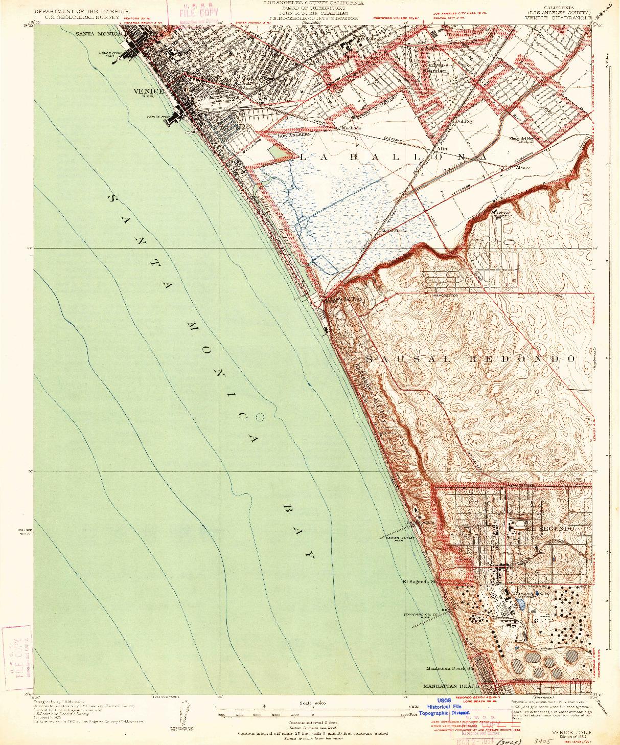 USGS 1:24000-SCALE QUADRANGLE FOR VENICE, CA 1934