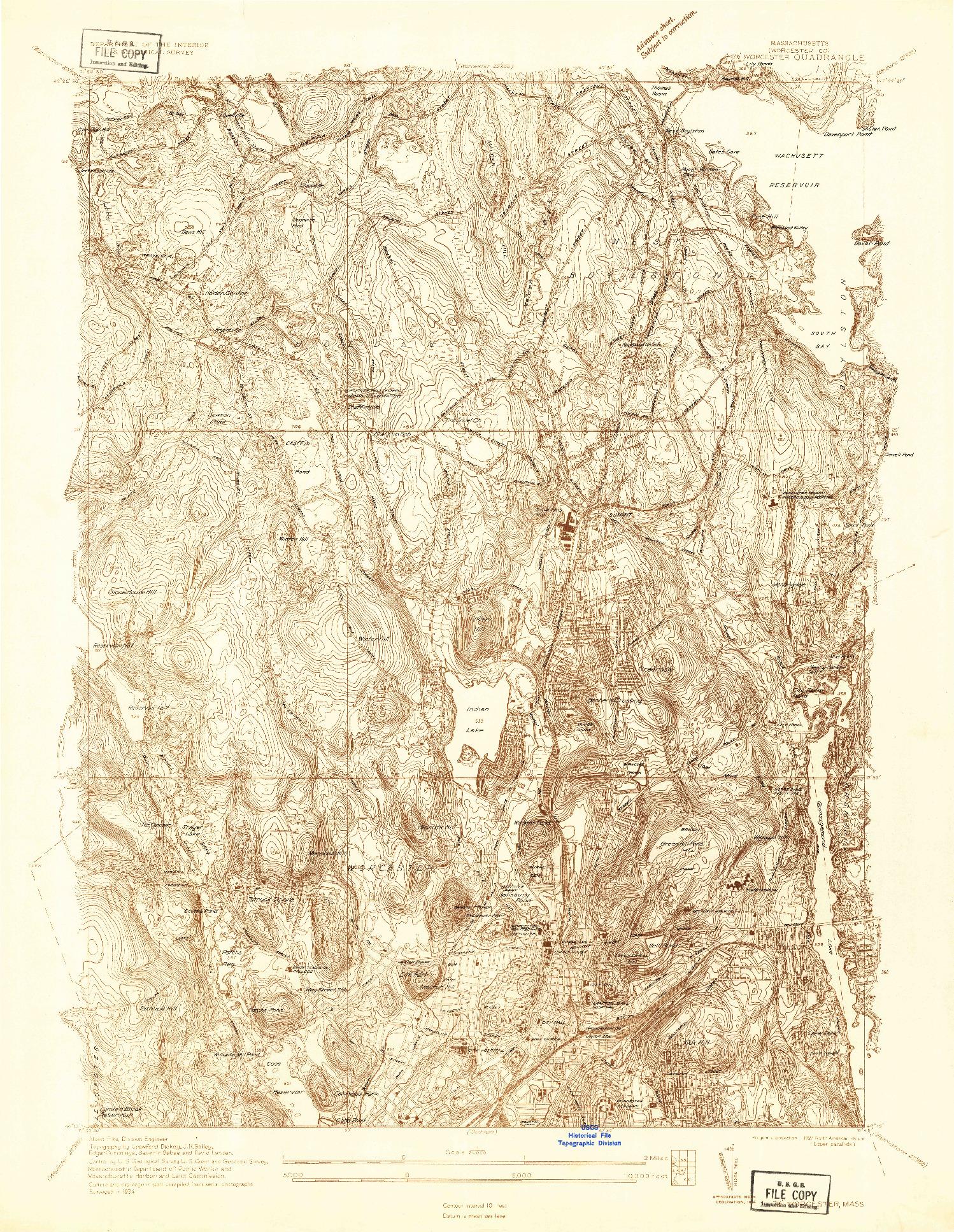 USGS 1:24000-SCALE QUADRANGLE FOR WORCESTER, MA 1934