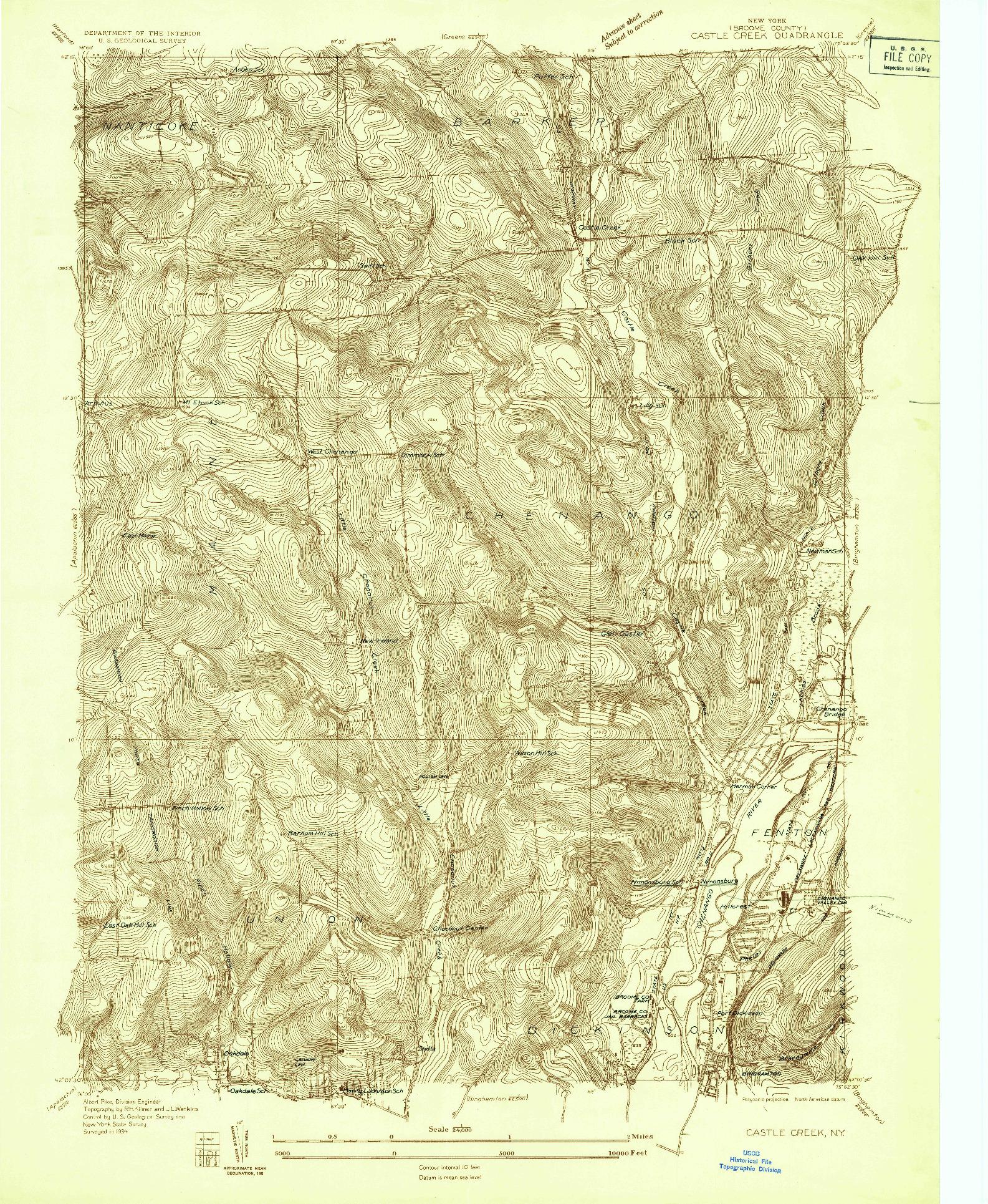 USGS 1:24000-SCALE QUADRANGLE FOR CASTLE CREEK, NY 1934