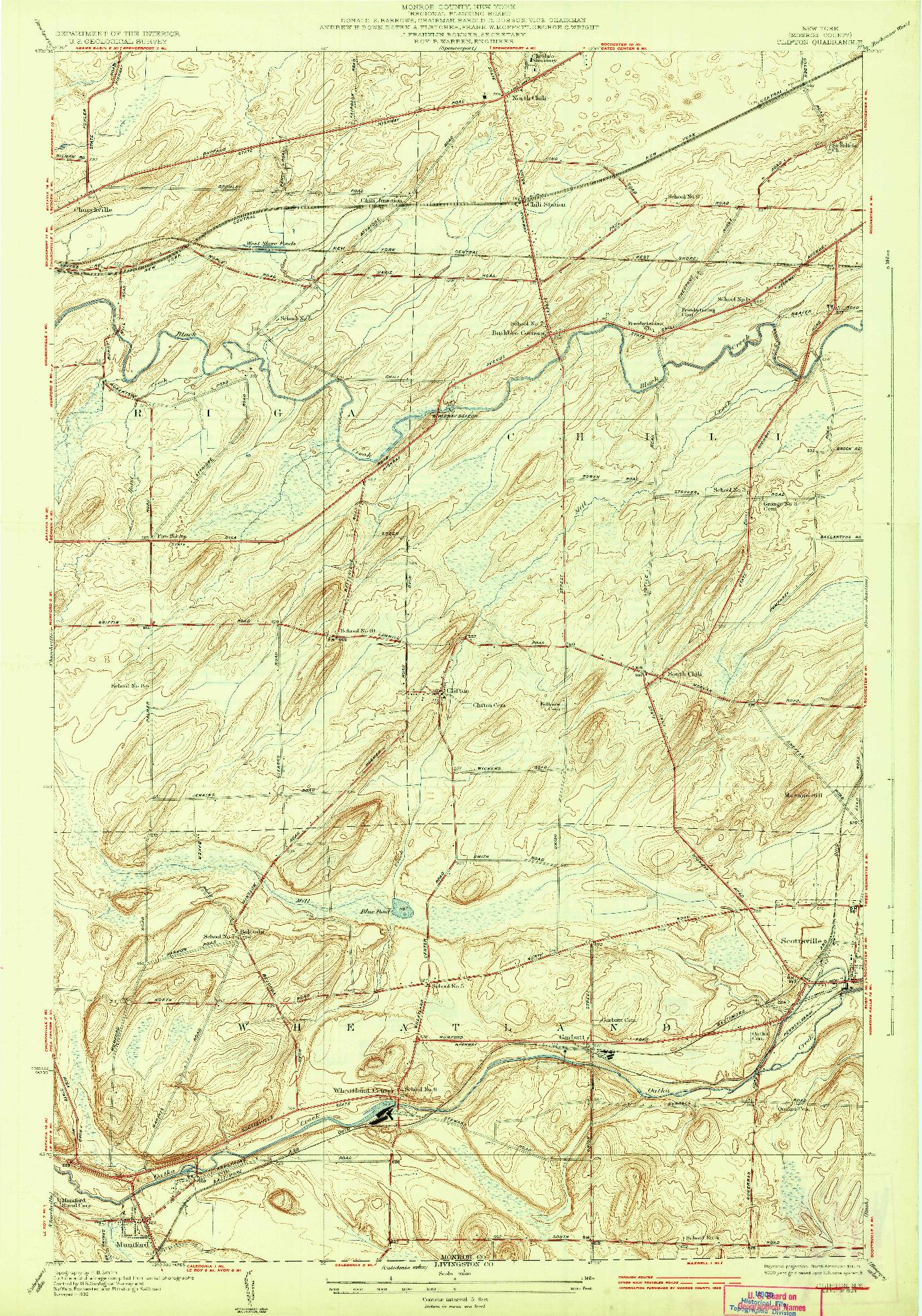 USGS 1:24000-SCALE QUADRANGLE FOR CLIFTON, NY 1934