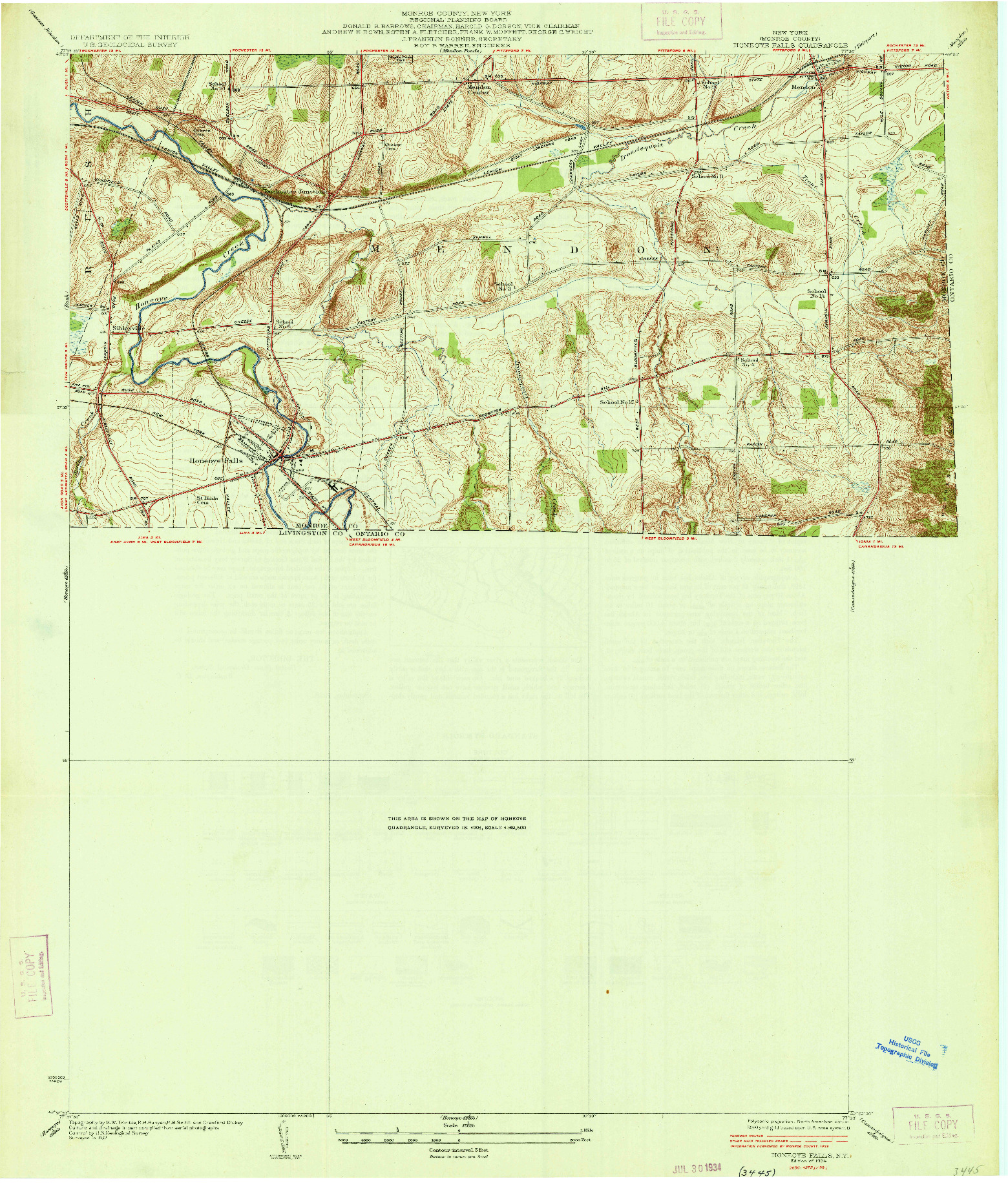 USGS 1:24000-SCALE QUADRANGLE FOR HONEOYE FALLS, NY 1934