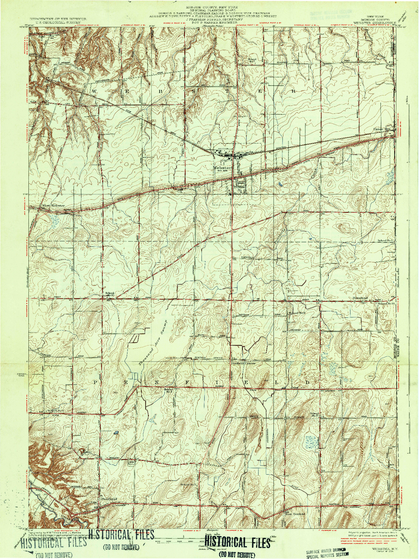 USGS 1:24000-SCALE QUADRANGLE FOR WEBSTER, NY 1934