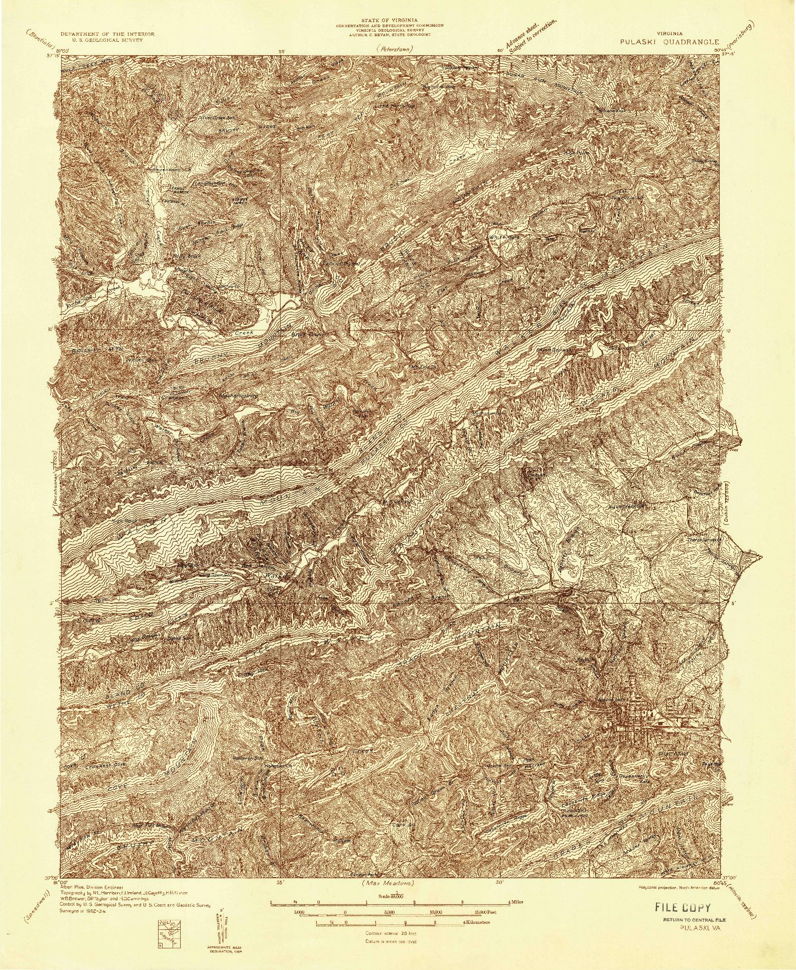 USGS 1:48000-SCALE QUADRANGLE FOR PULASKI, VA 1934