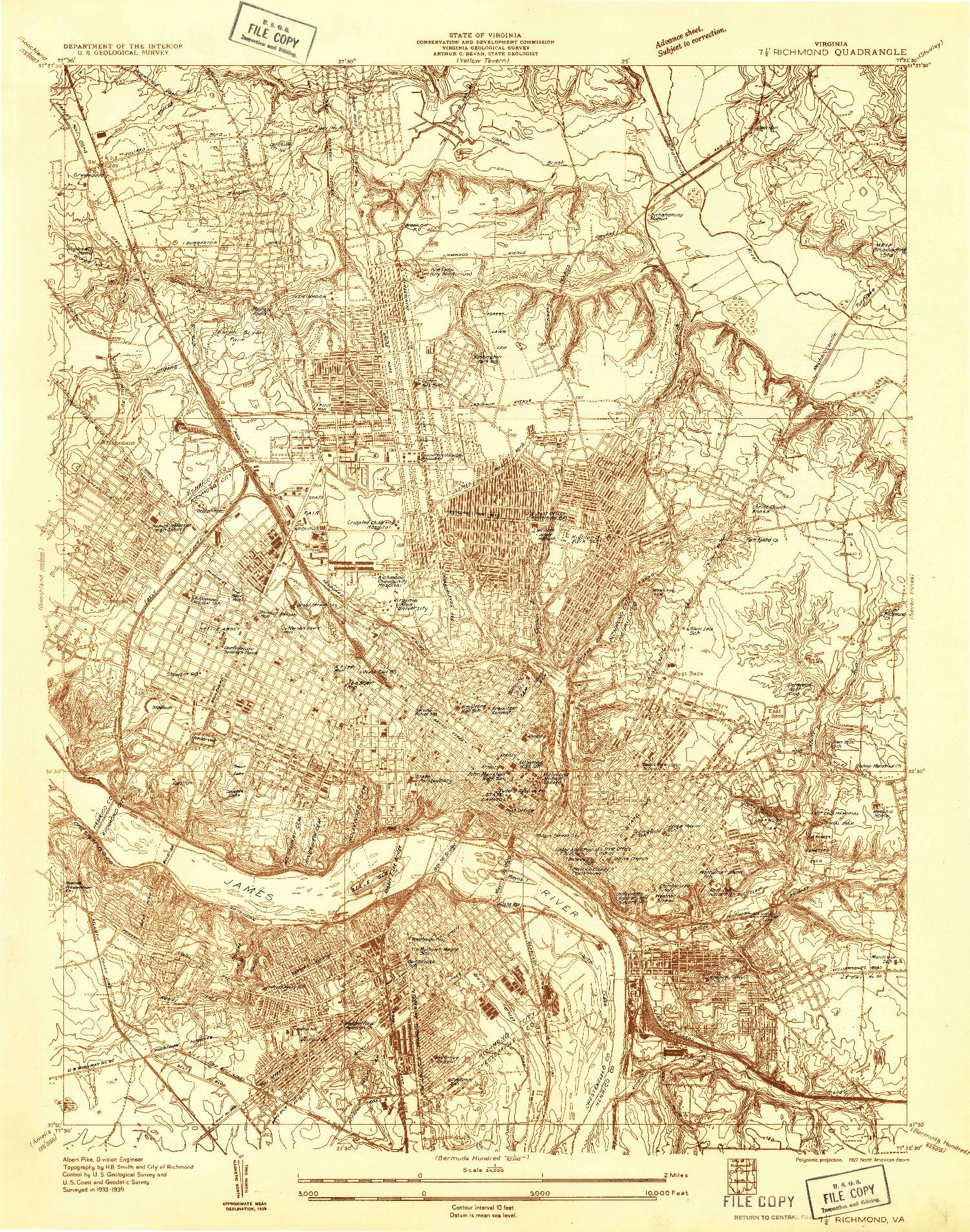 USGS 1:24000-SCALE QUADRANGLE FOR RICHMOND, VA 1934