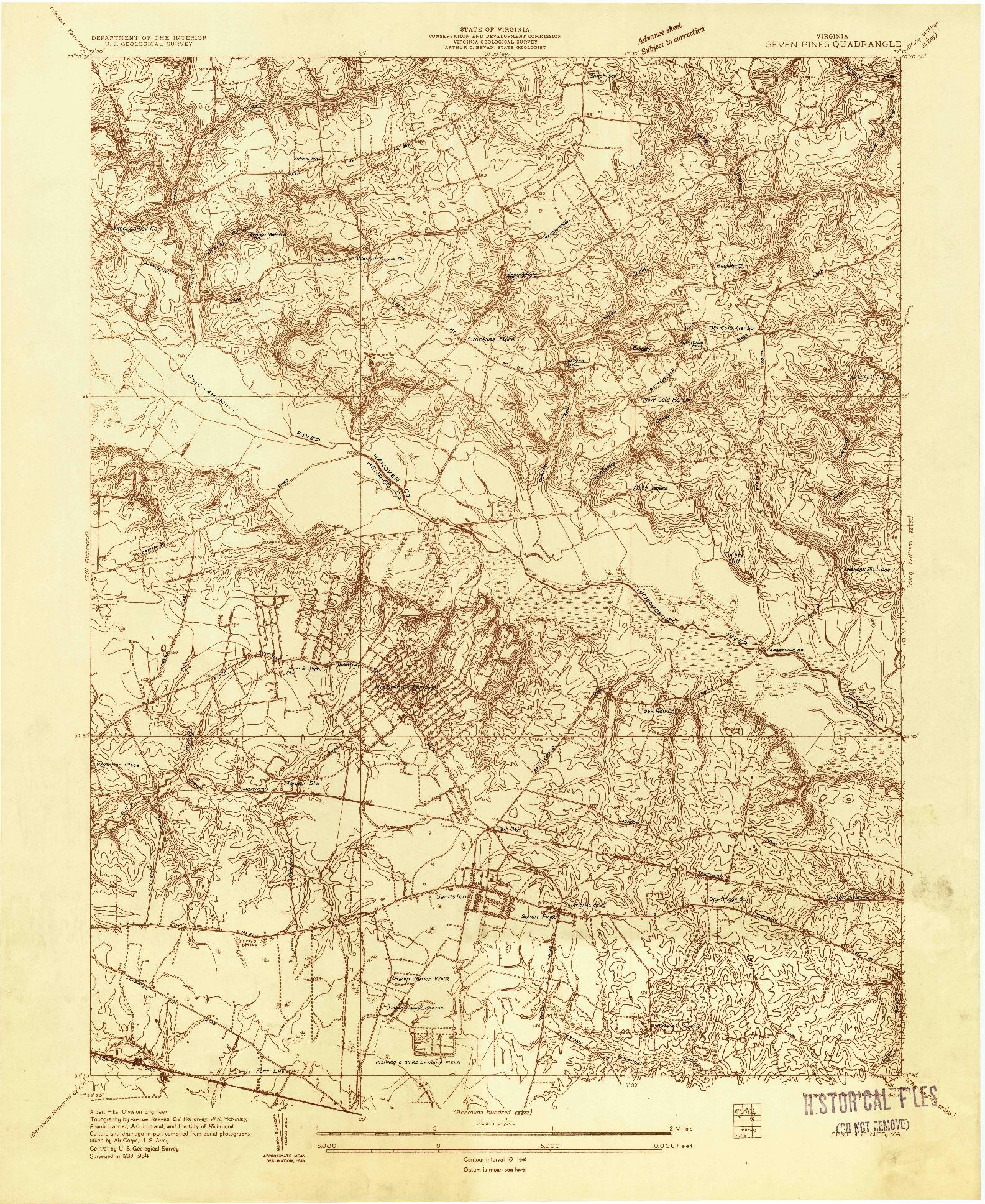 USGS 1:24000-SCALE QUADRANGLE FOR SEVEN PINES, VA 1934