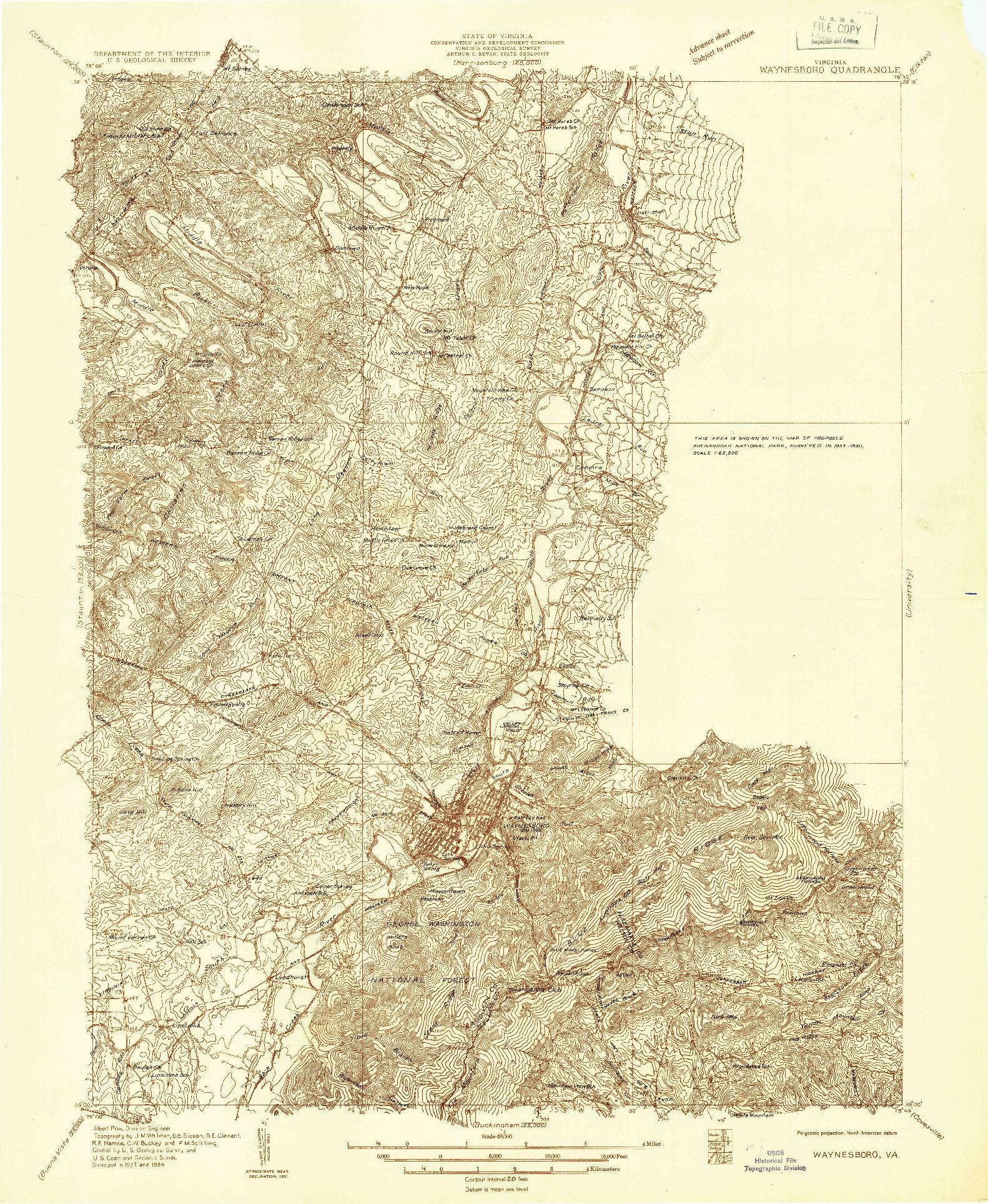 USGS 1:48000-SCALE QUADRANGLE FOR WAYNESBORO, VA 1934