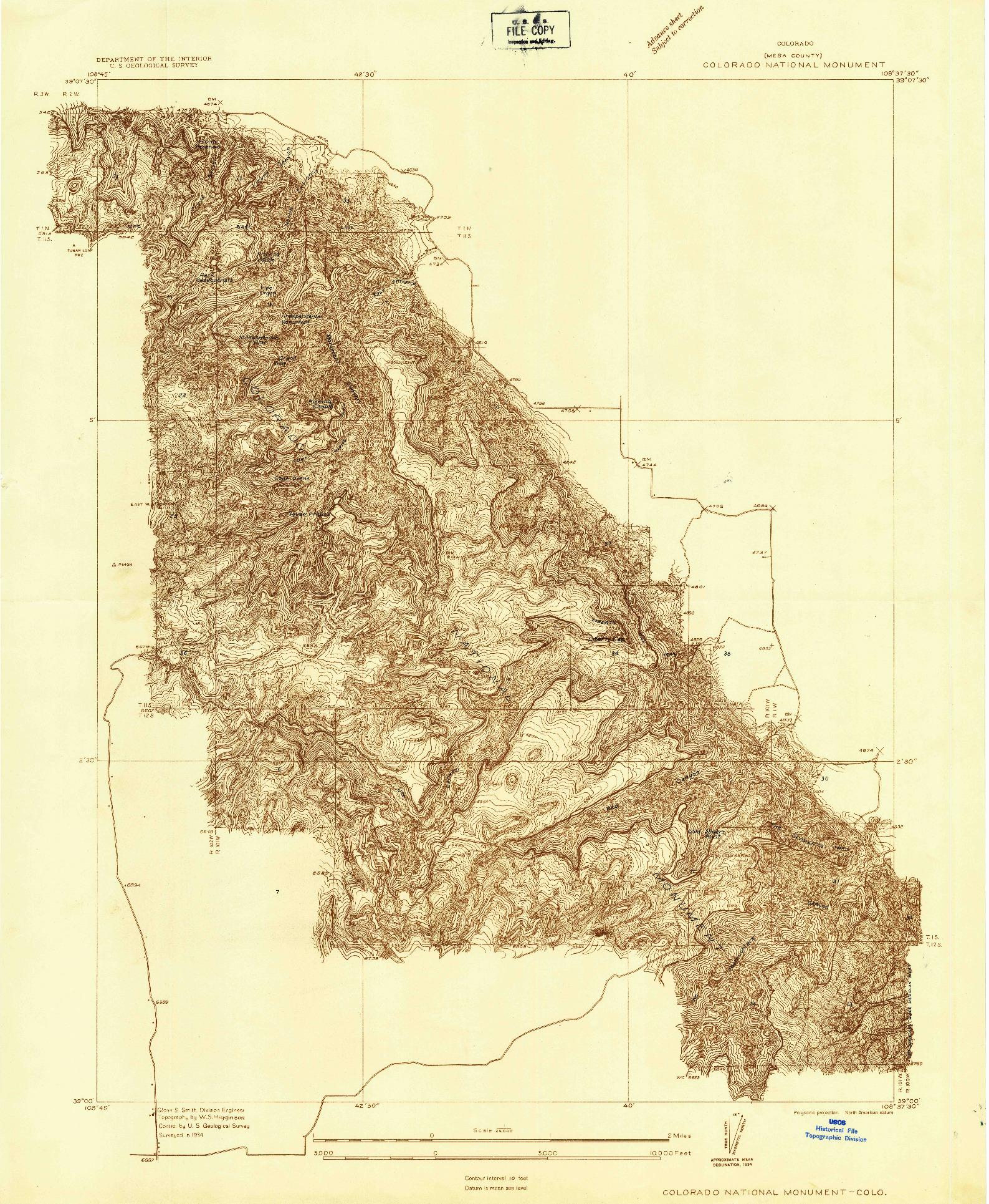 USGS 1:24000-SCALE QUADRANGLE FOR COLORADO NATIONAL MONUMENT, CO 1934