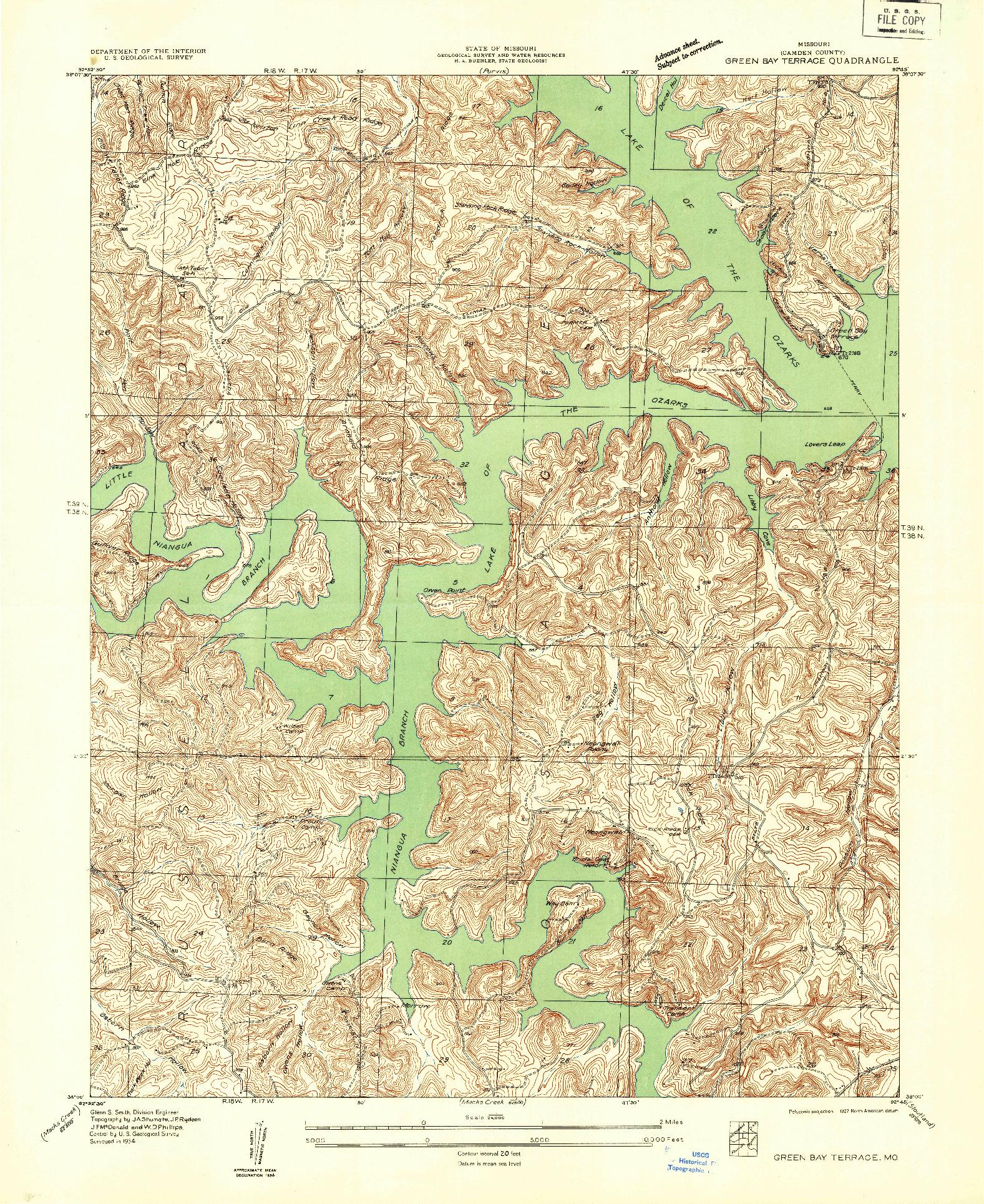 USGS 1:24000-SCALE QUADRANGLE FOR GREEN BAY TERRACE, MO 1934