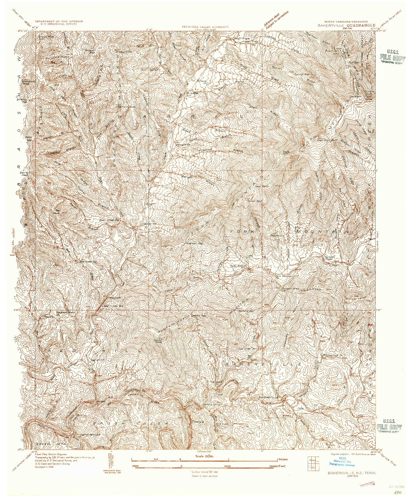 USGS 1:24000-SCALE QUADRANGLE FOR BAKERSVILLE, NC 1934