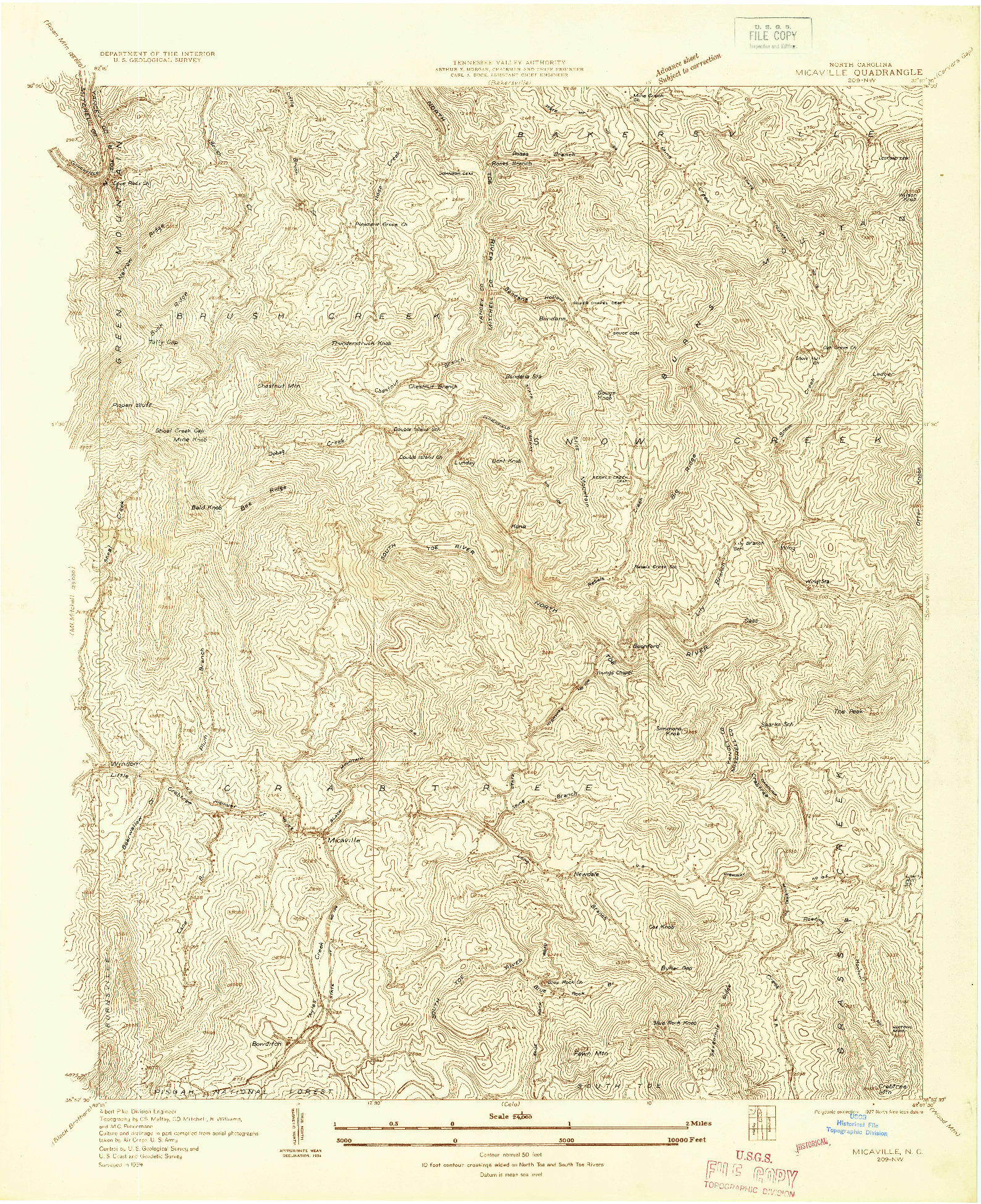 USGS 1:24000-SCALE QUADRANGLE FOR MICAVILLE, NC 1934