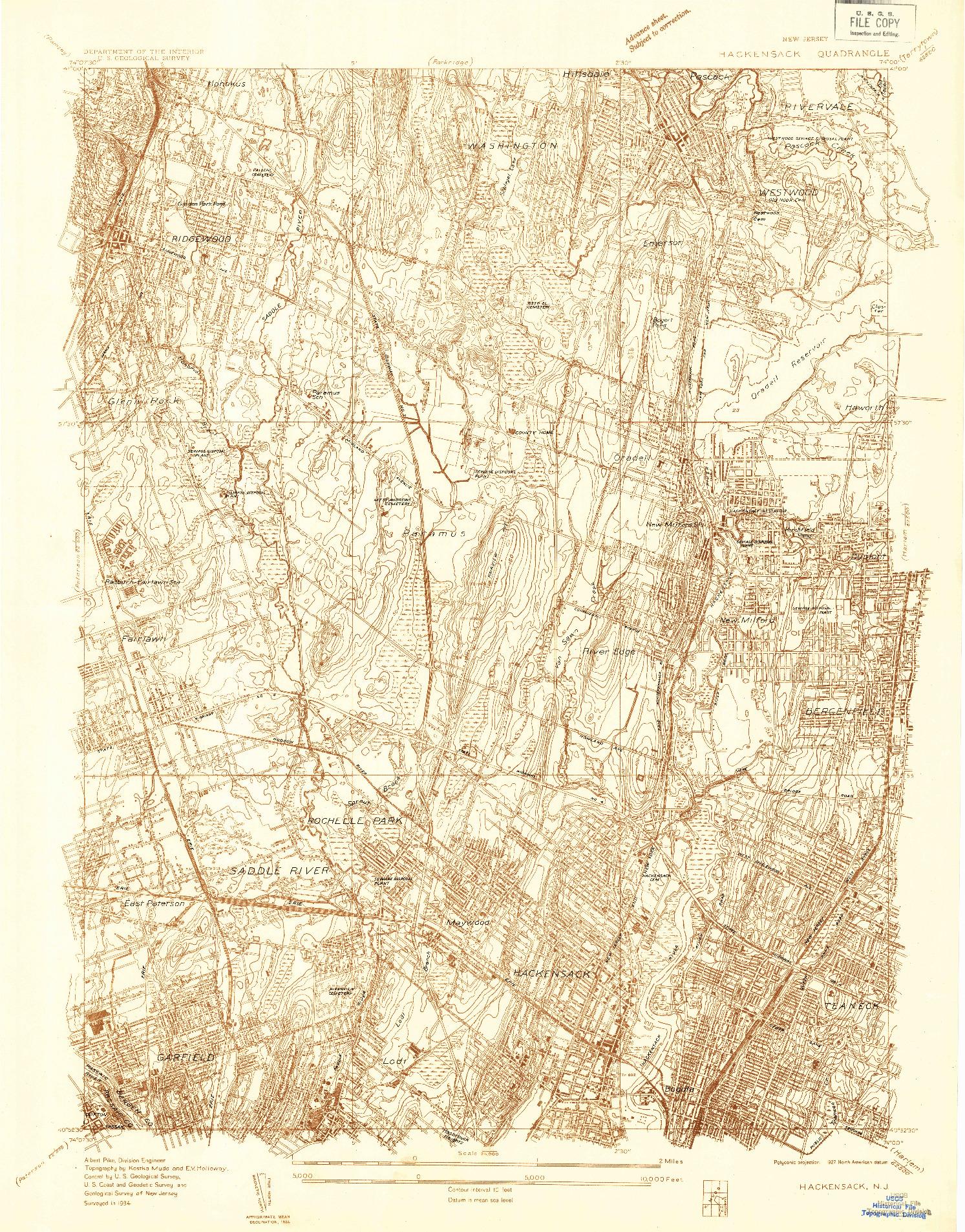 USGS 1:24000-SCALE QUADRANGLE FOR HACKENSACK, NJ 1934