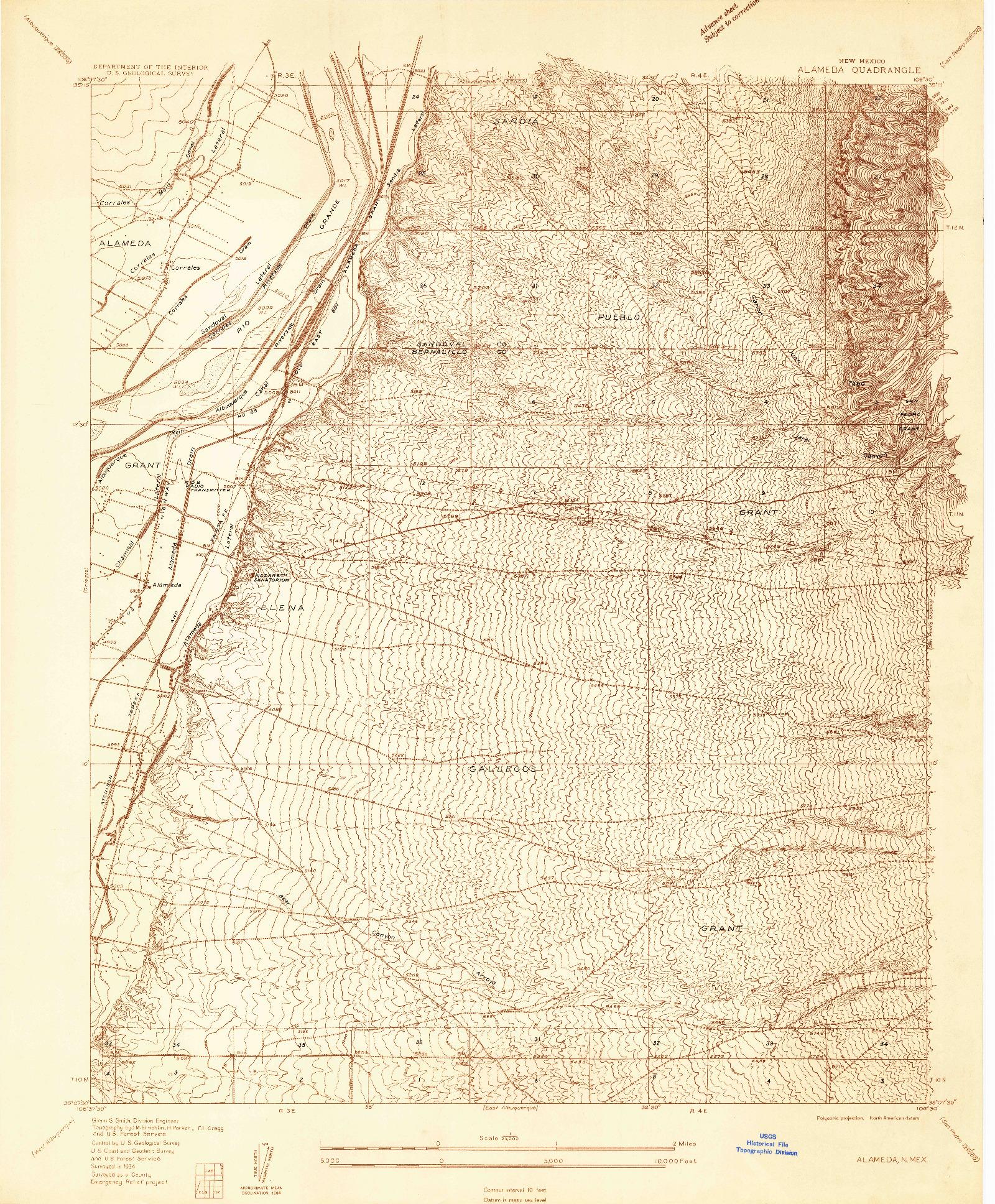 USGS 1:24000-SCALE QUADRANGLE FOR ALAMEDA, NM 1934