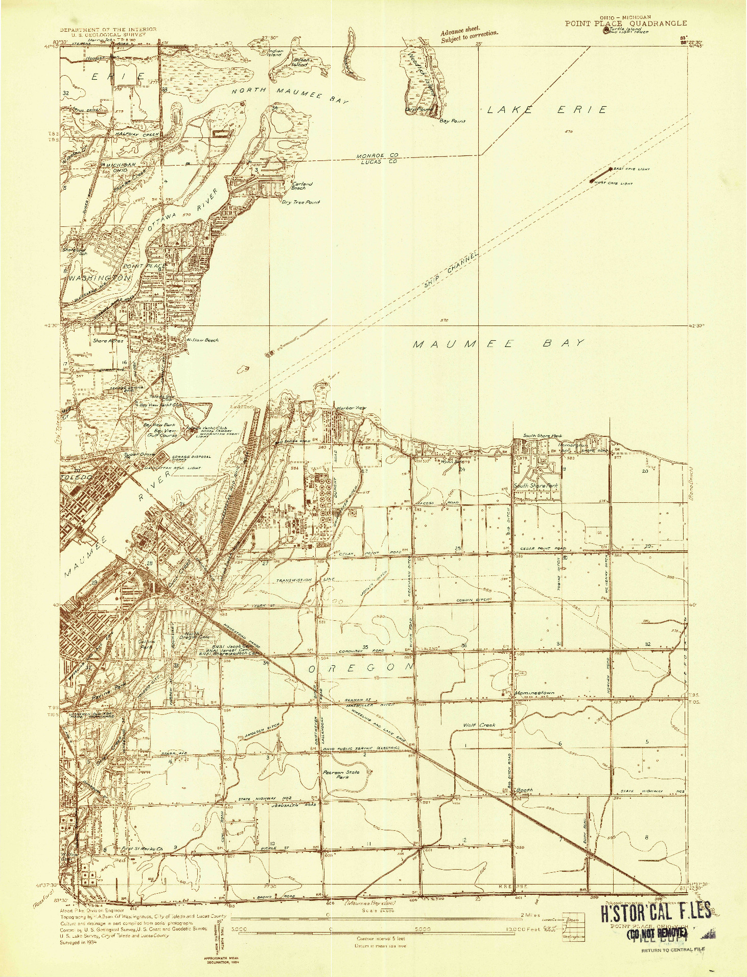 USGS 1:24000-SCALE QUADRANGLE FOR POINT PLACE, OH 1934