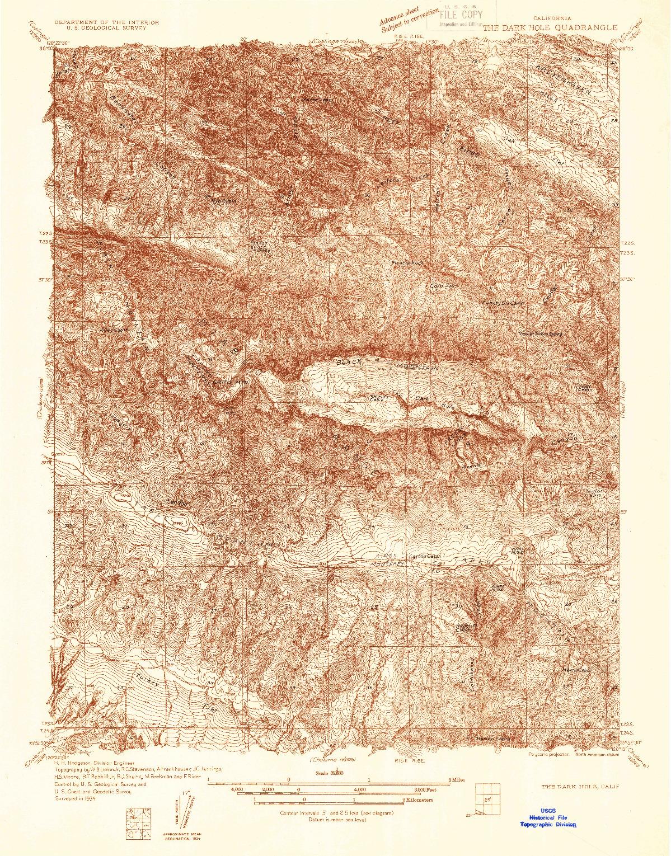 USGS 1:31680-SCALE QUADRANGLE FOR THE DARK HOLE, CA 1934