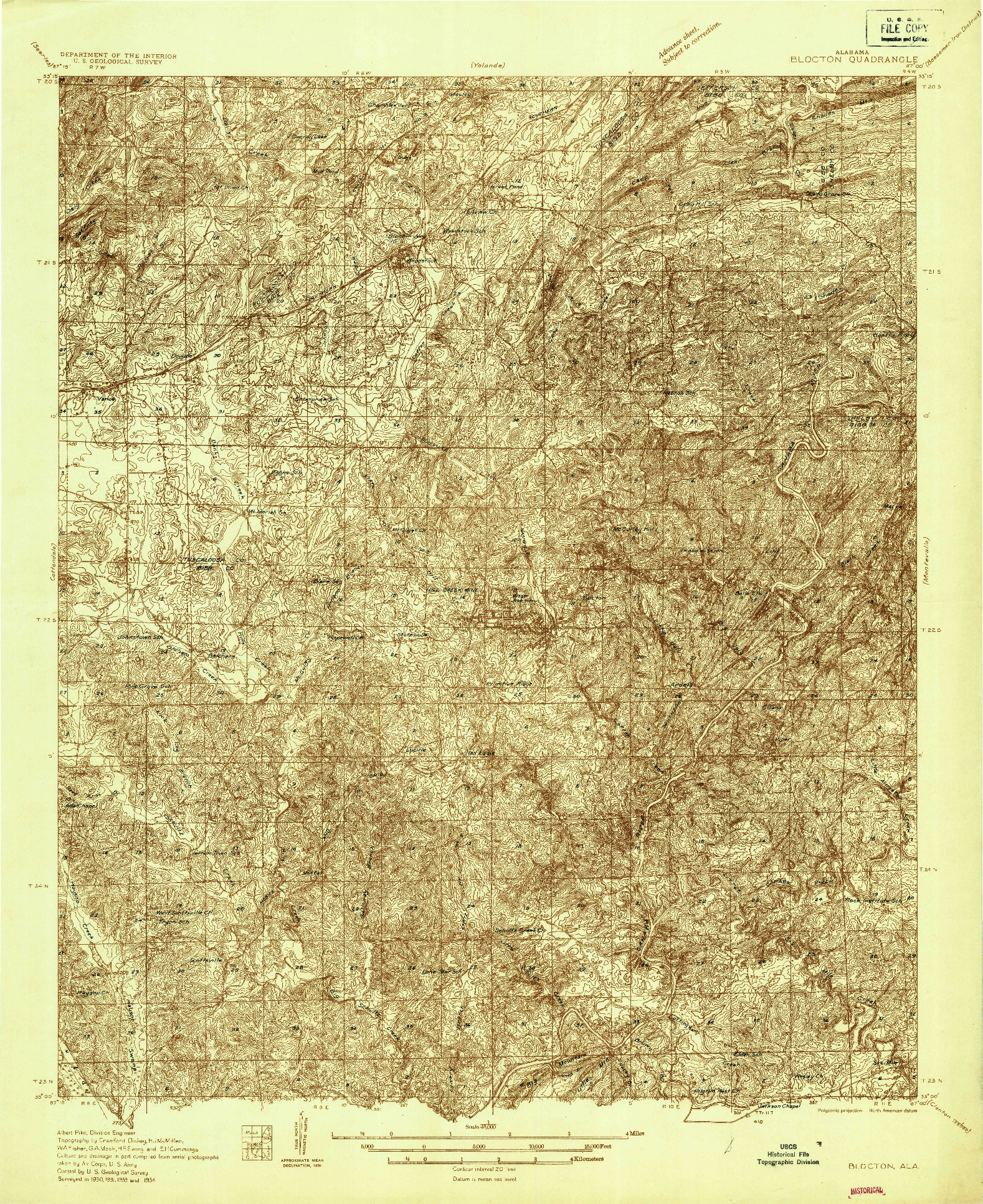 USGS 1:48000-SCALE QUADRANGLE FOR BLOCTON, AL 1934