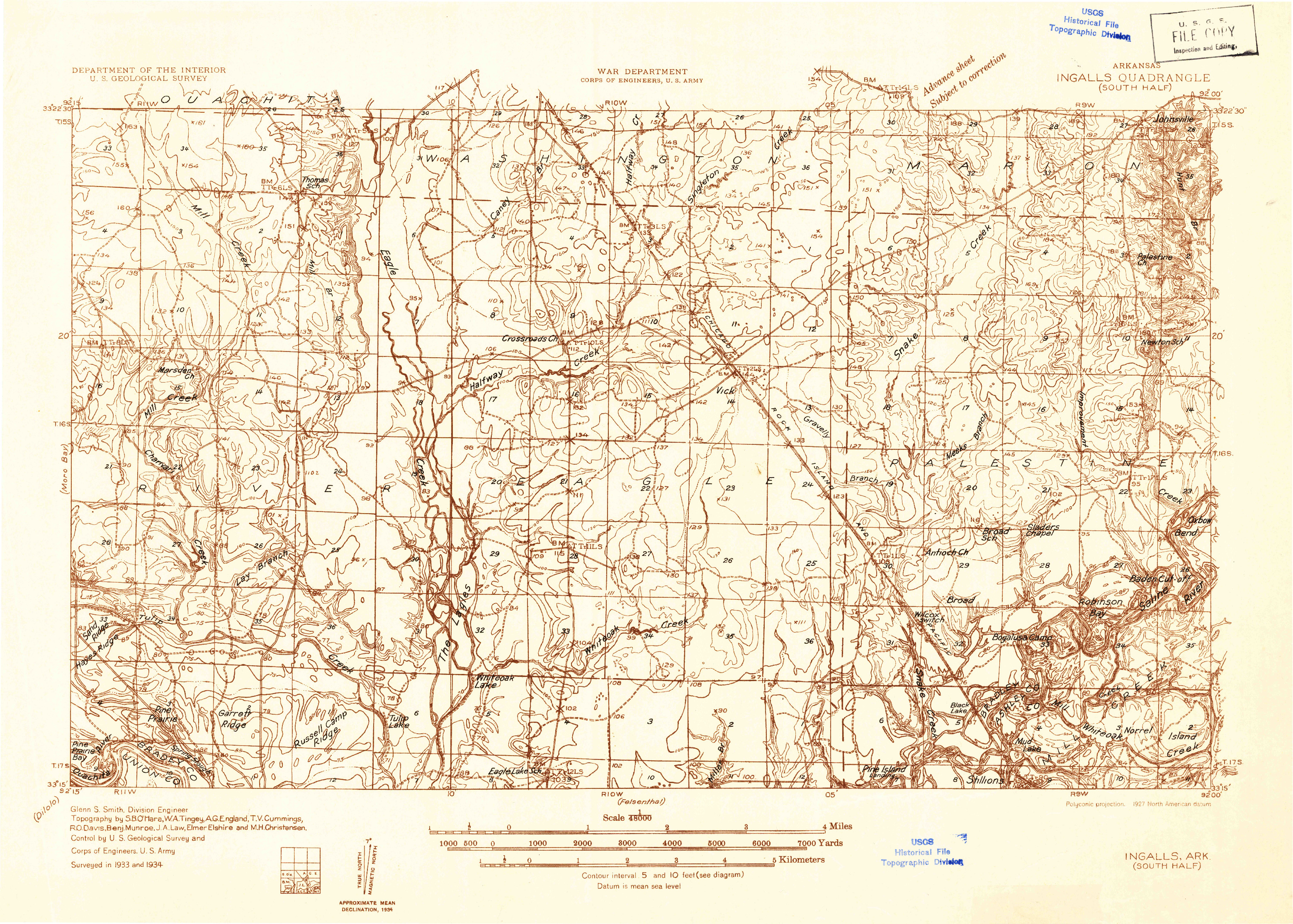 USGS 1:48000-SCALE QUADRANGLE FOR INGALLS, AR 1934
