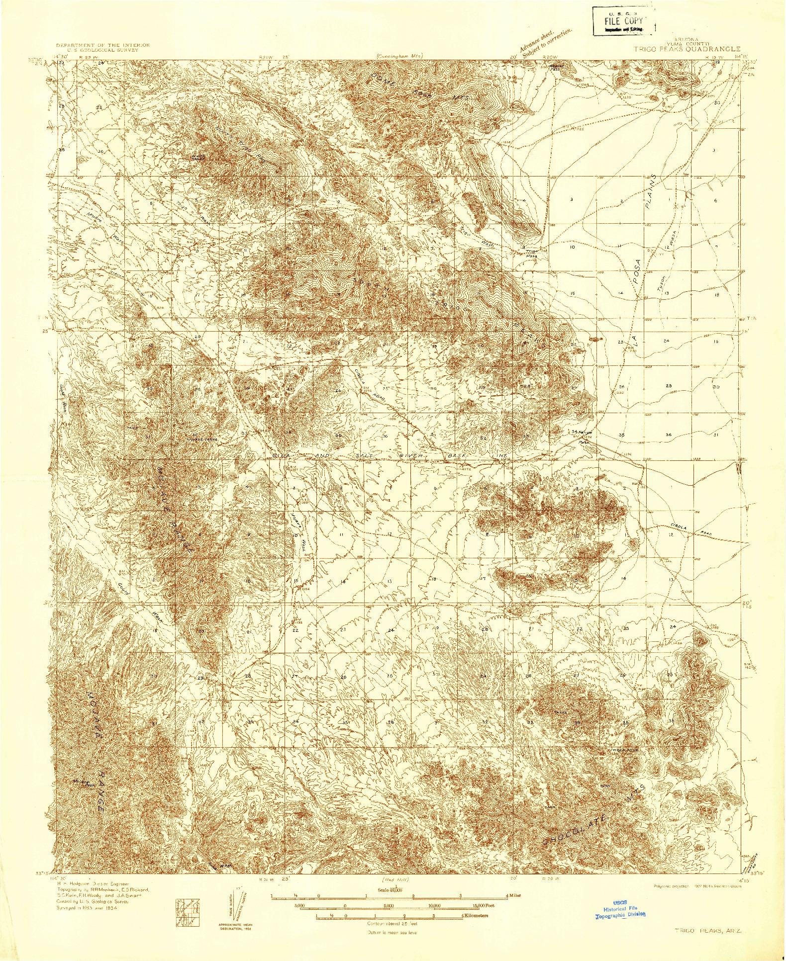 USGS 1:48000-SCALE QUADRANGLE FOR TRIGO PEAKS, AZ 1934