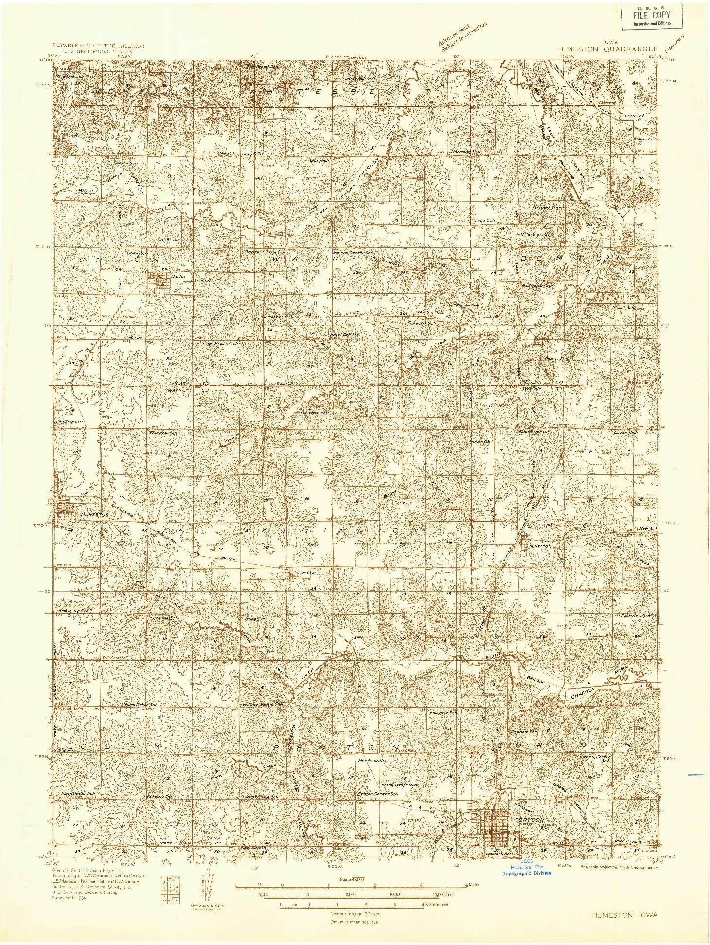 USGS 1:48000-SCALE QUADRANGLE FOR HUMESTON, IA 1934