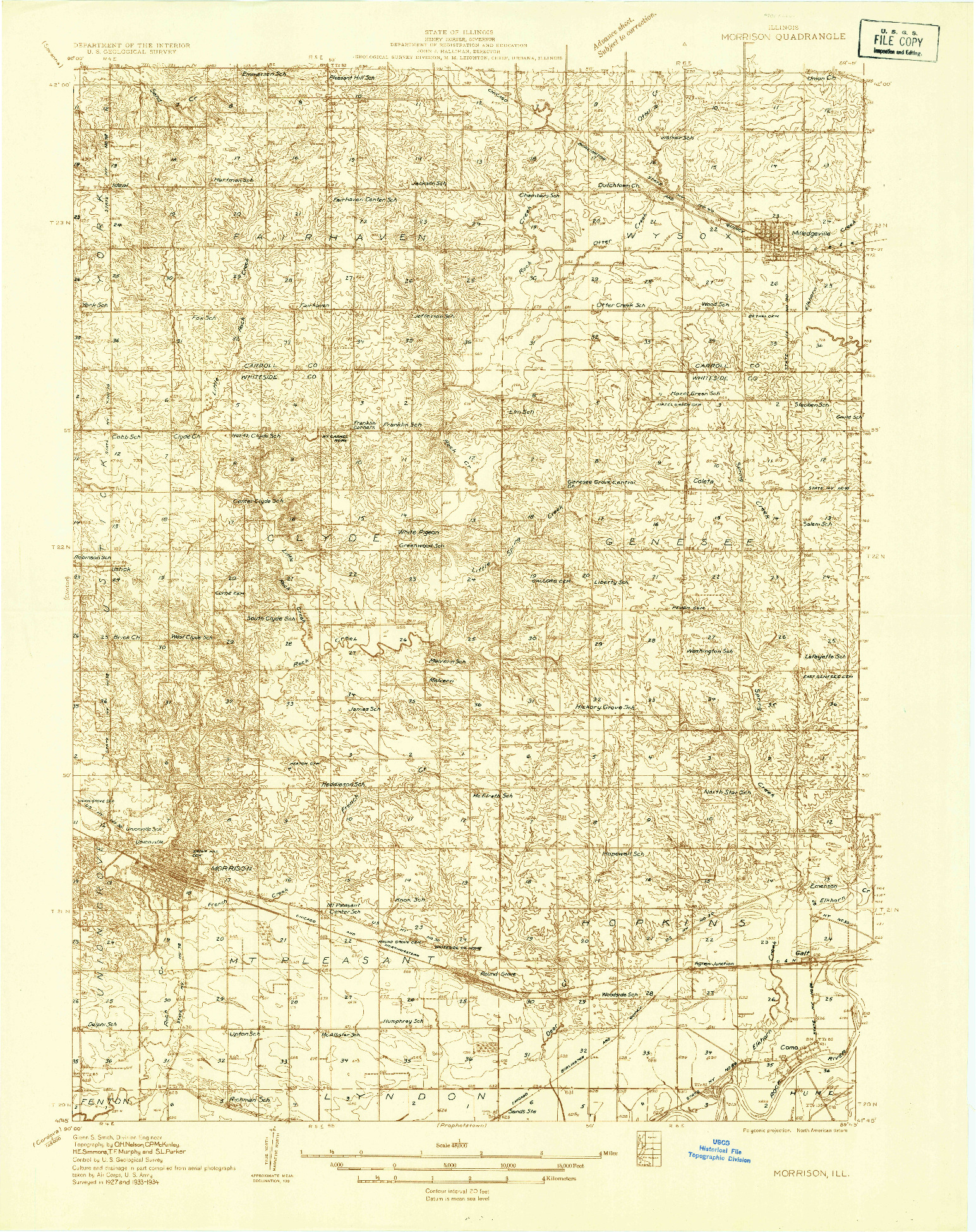 USGS 1:48000-SCALE QUADRANGLE FOR MORRISON, IL 1934