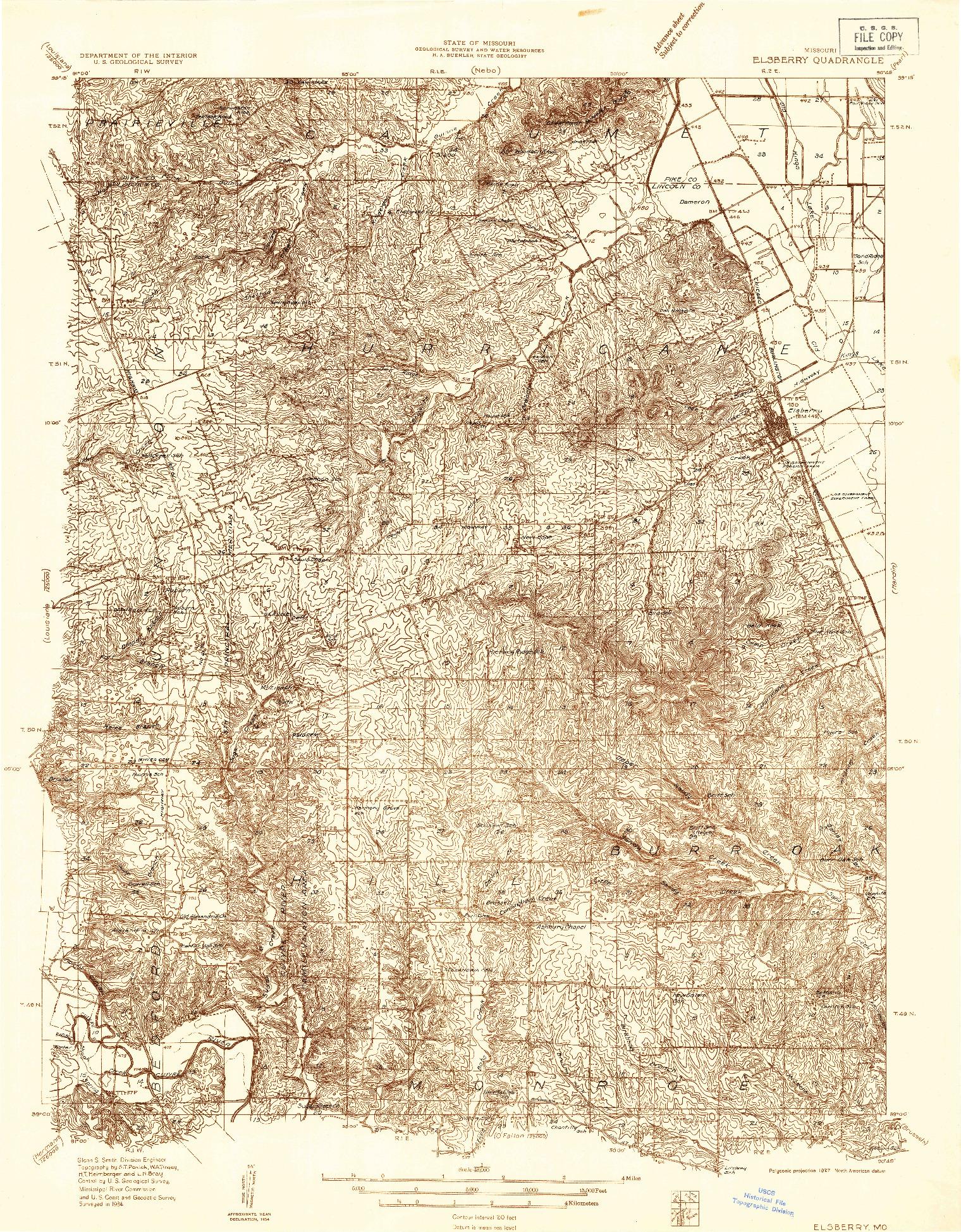 USGS 1:48000-SCALE QUADRANGLE FOR ELSBERRY, MO 1934