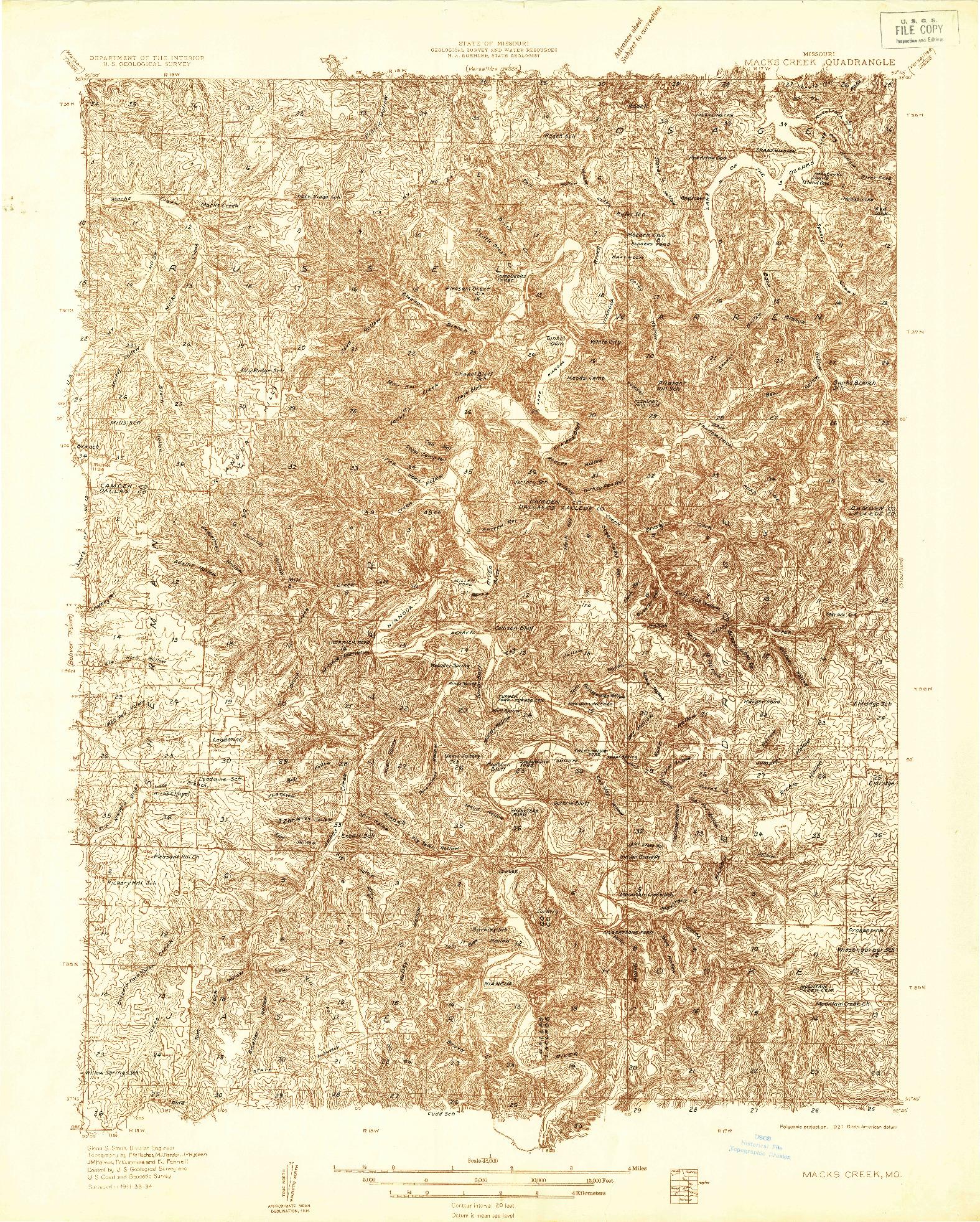 USGS 1:48000-SCALE QUADRANGLE FOR MACKS CREEK, MO 1934