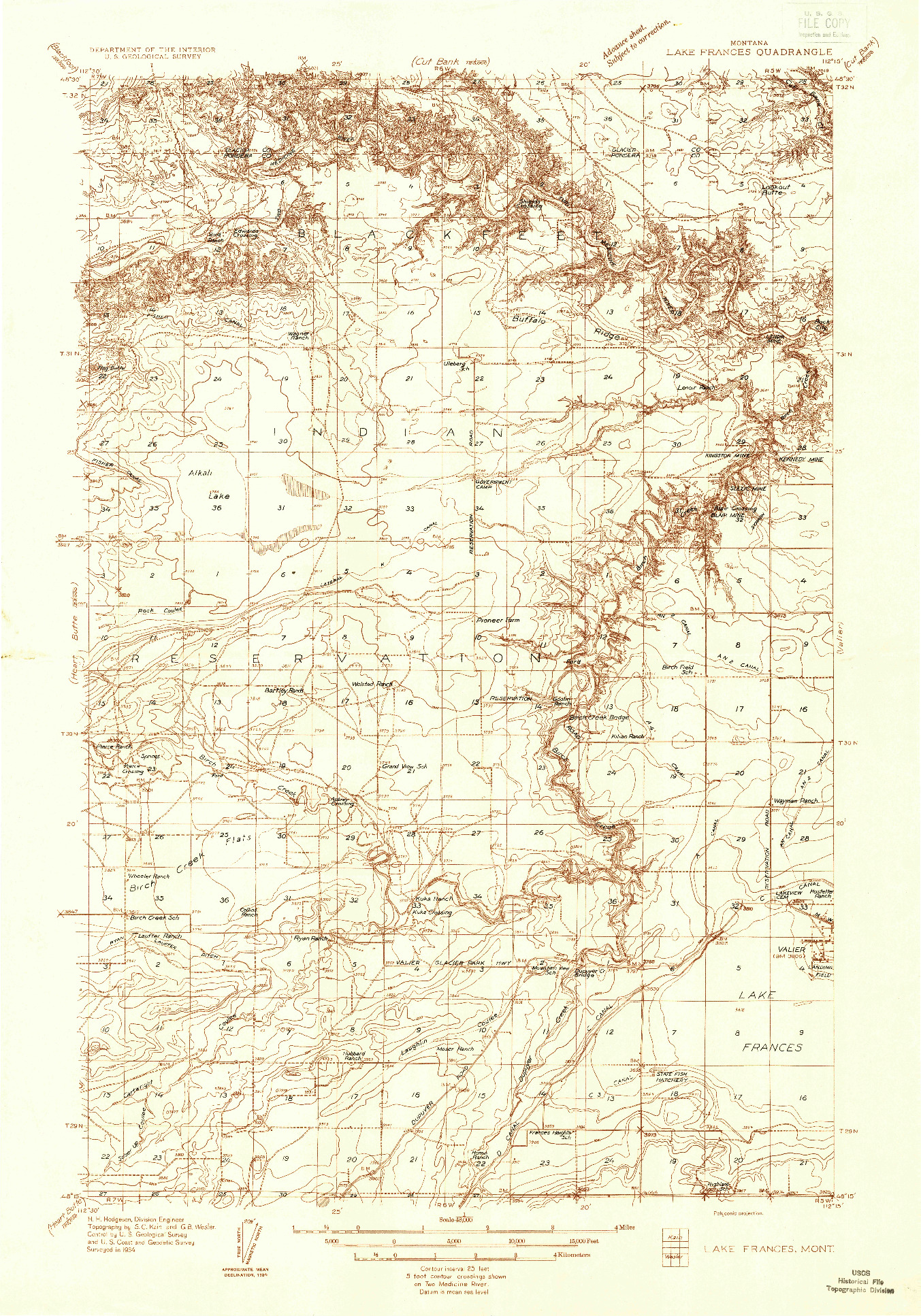 USGS 1:48000-SCALE QUADRANGLE FOR LAKE FRANCES, MT 1934
