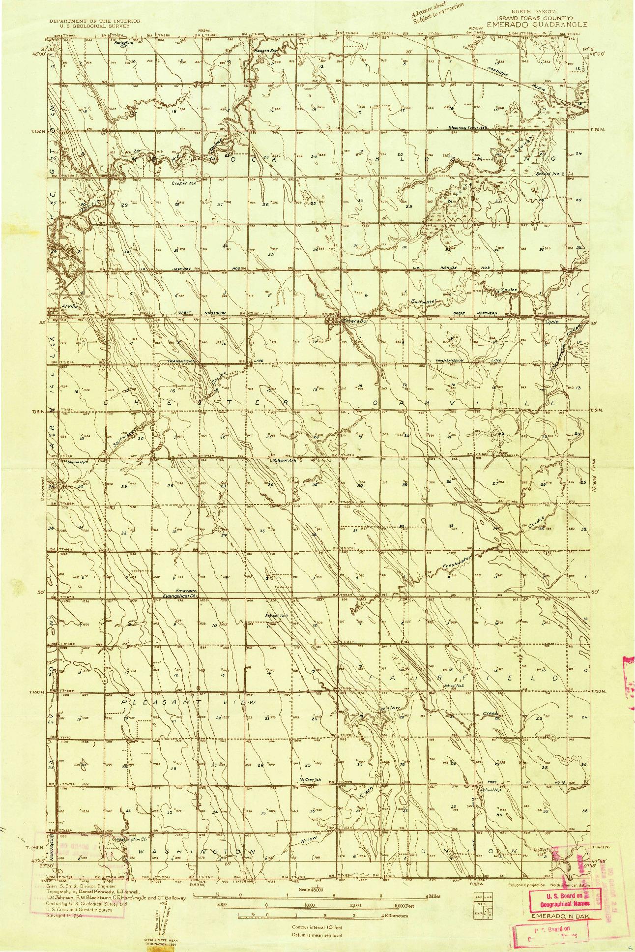 USGS 1:48000-SCALE QUADRANGLE FOR EMERADO, ND 1934