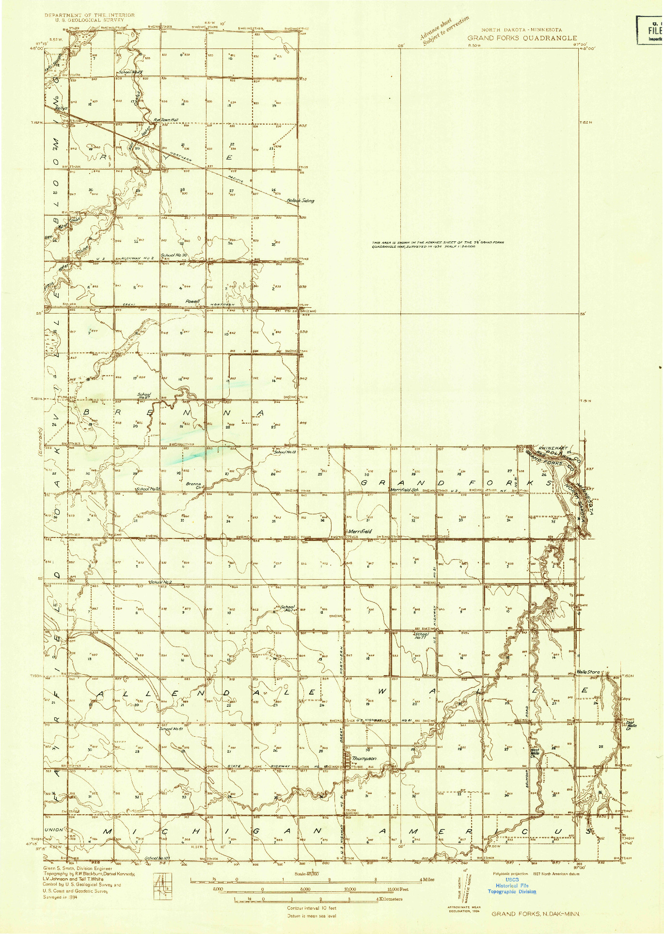 USGS 1:48000-SCALE QUADRANGLE FOR GRAND FORKS, ND 1934
