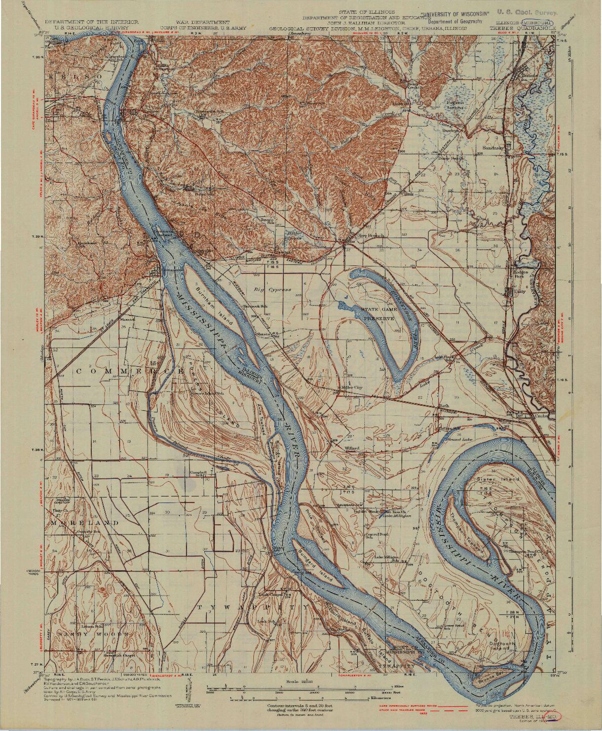 USGS 1:62500-SCALE QUADRANGLE FOR THEBES, IL 1934
