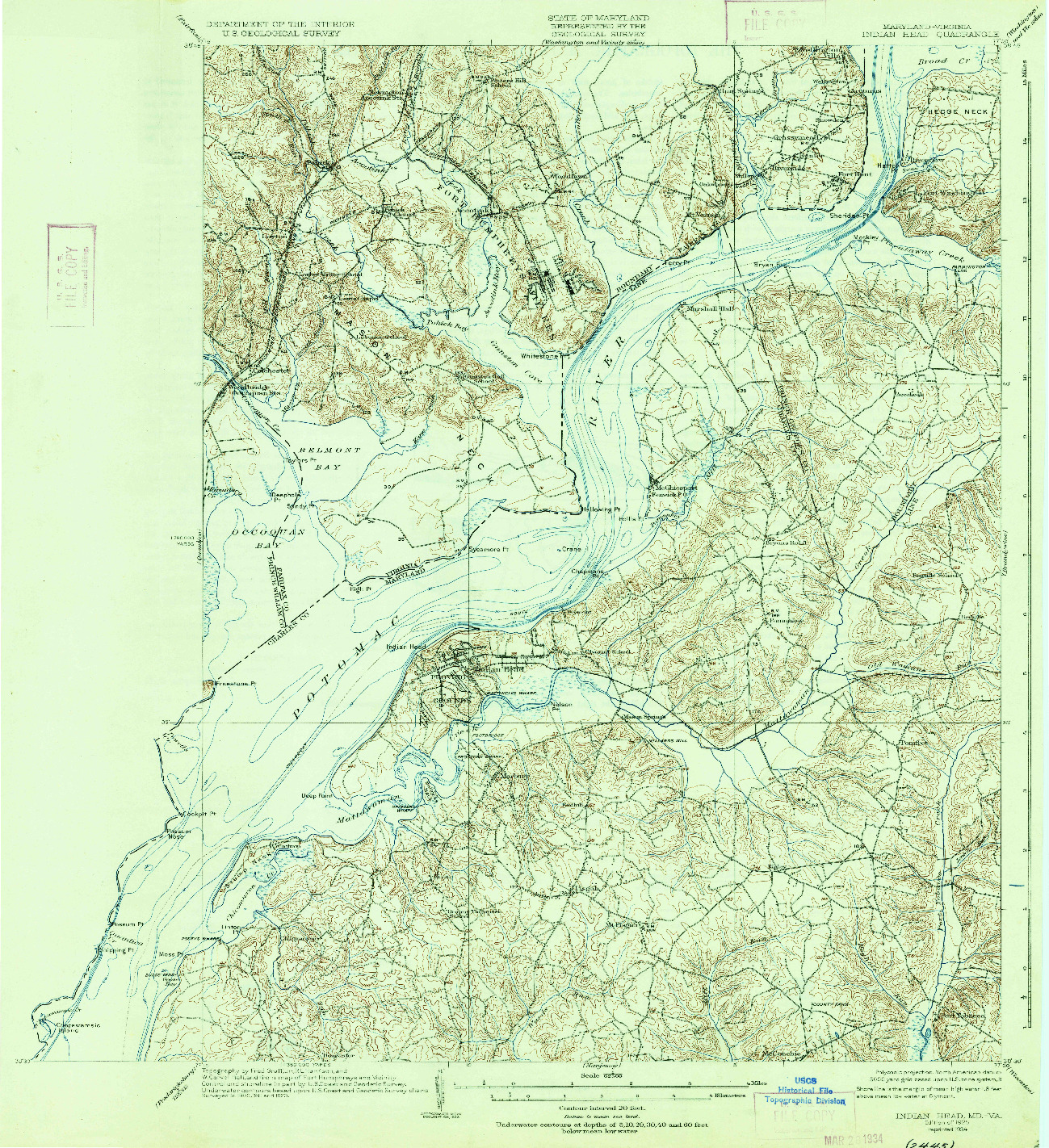 USGS 1:62500-SCALE QUADRANGLE FOR INDIAN HEAD, MD 1925