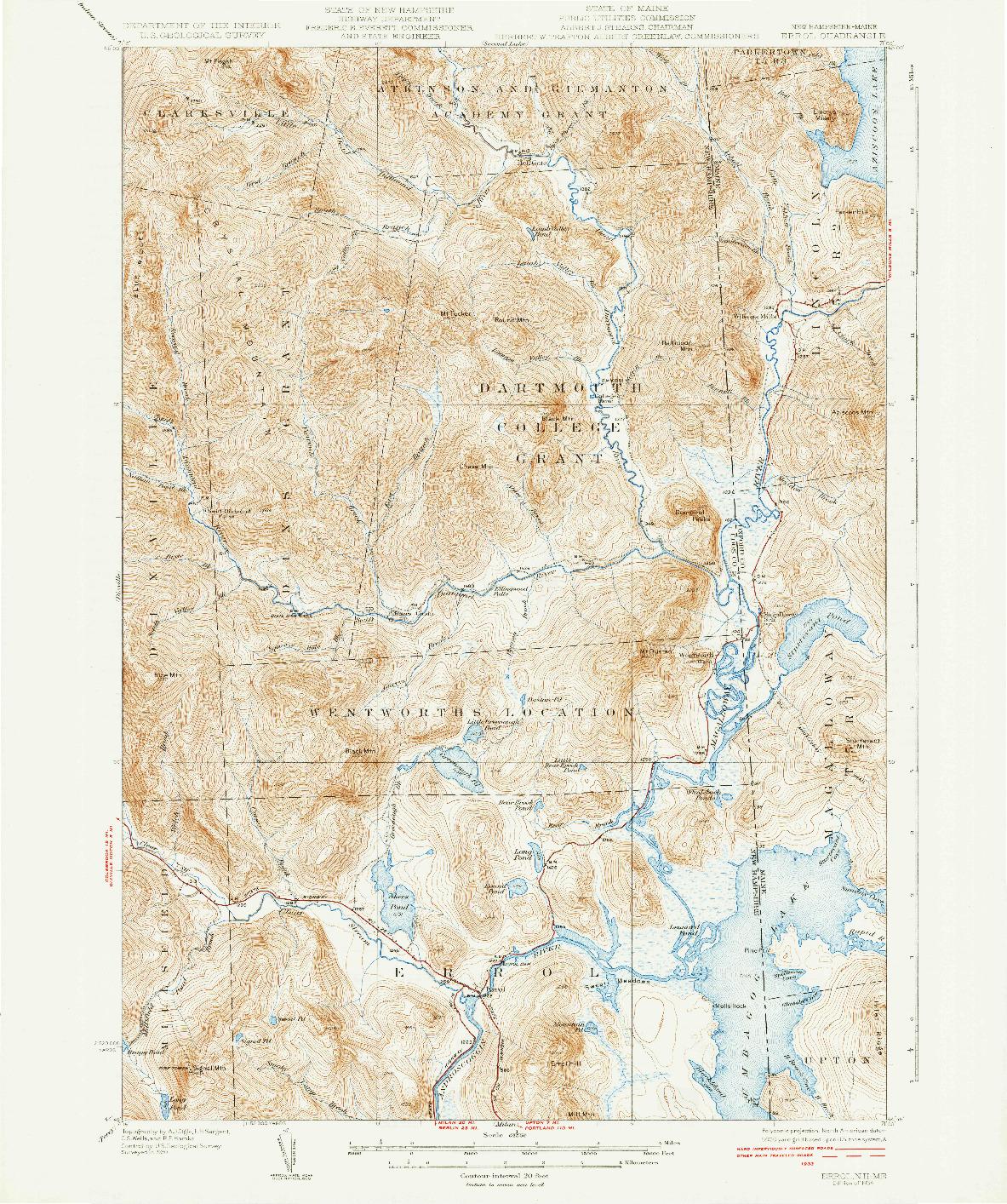 USGS 1:62500-SCALE QUADRANGLE FOR ERROL, NH 1934