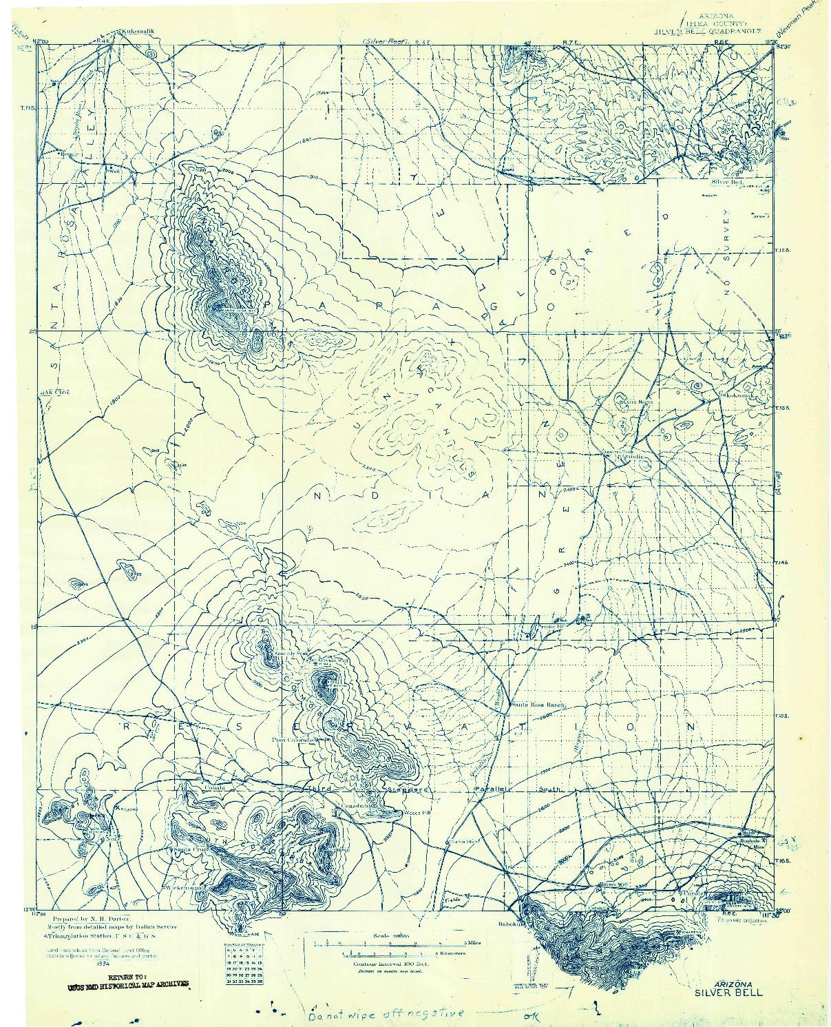 USGS 1:125000-SCALE QUADRANGLE FOR SILVER BELL, AZ 1934