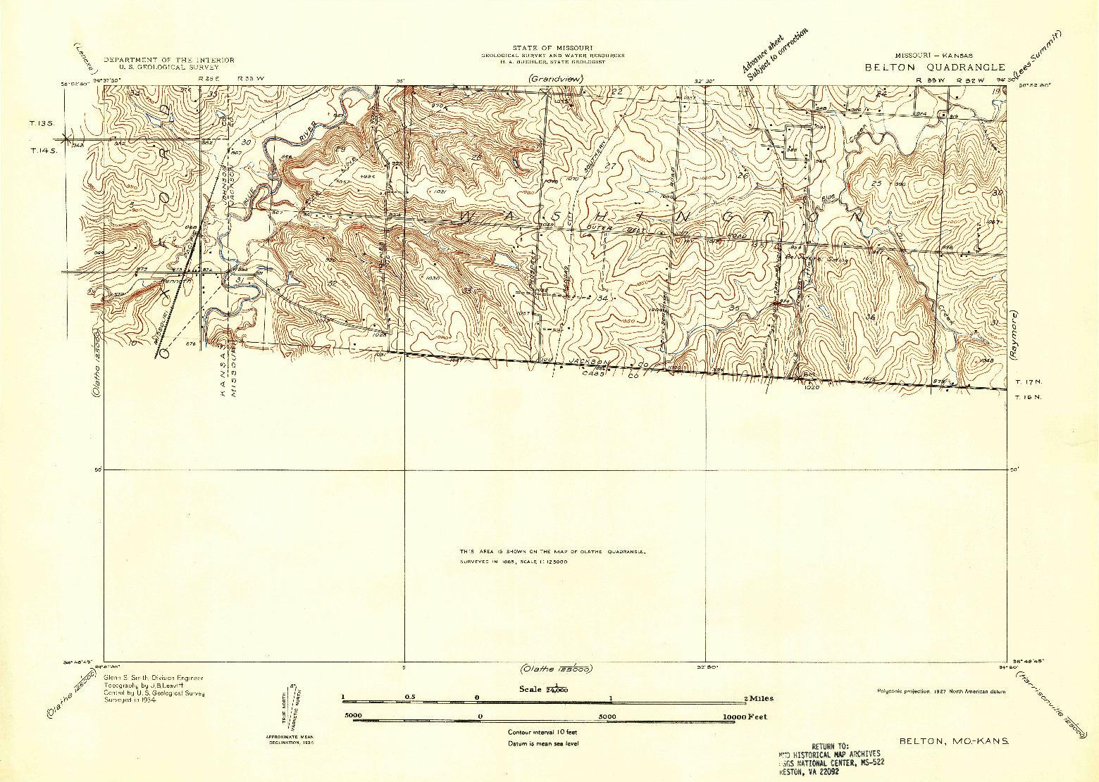 USGS 1:24000-SCALE QUADRANGLE FOR BELTON, MO 1934