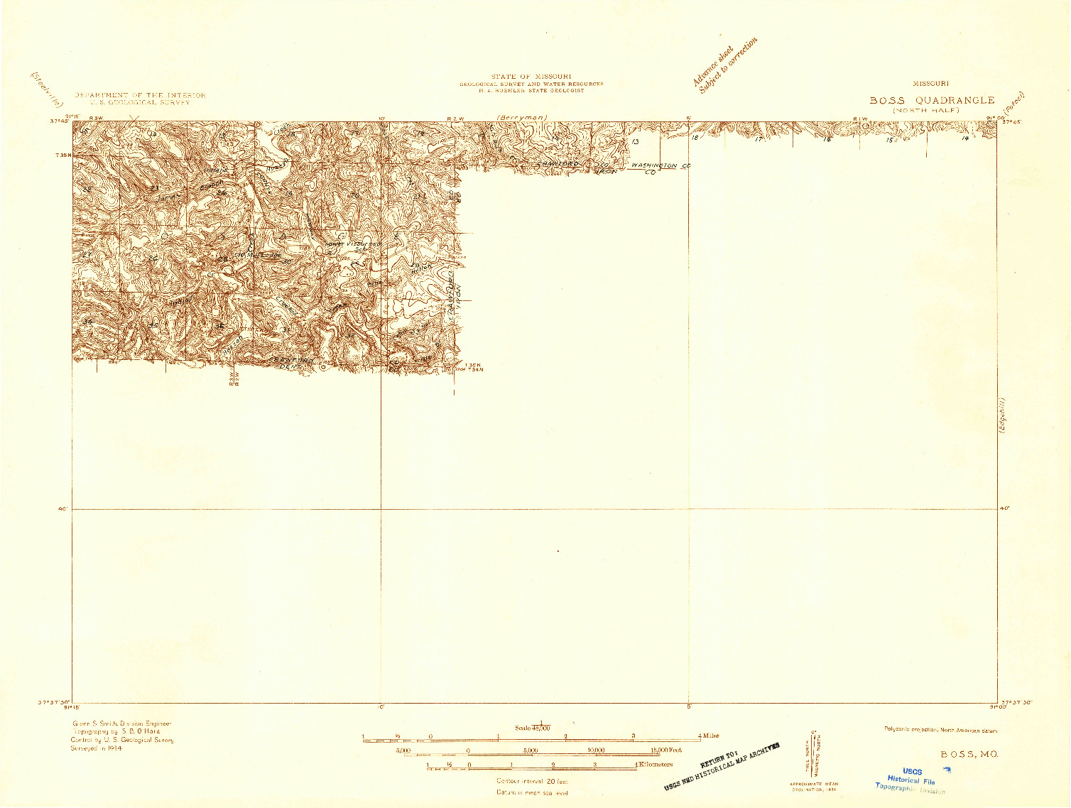 USGS 1:48000-SCALE QUADRANGLE FOR BOSS, MO 1934