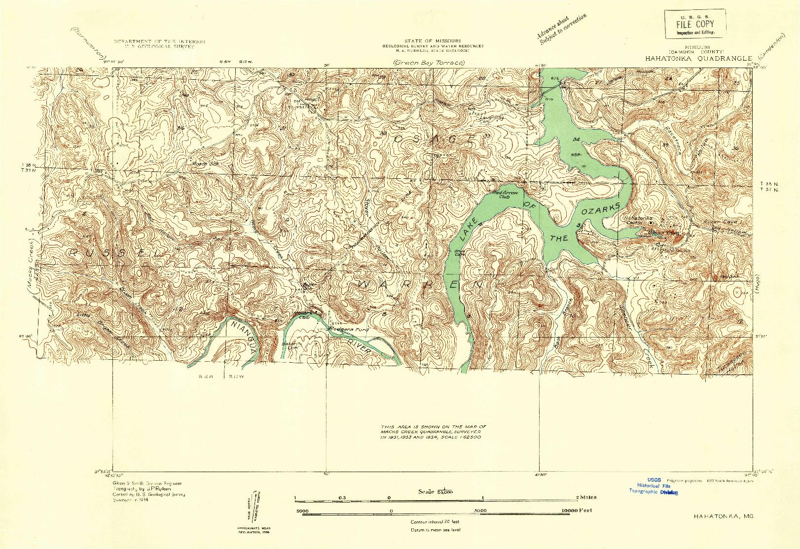 USGS 1:24000-SCALE QUADRANGLE FOR HAHATONKA, MO 1934
