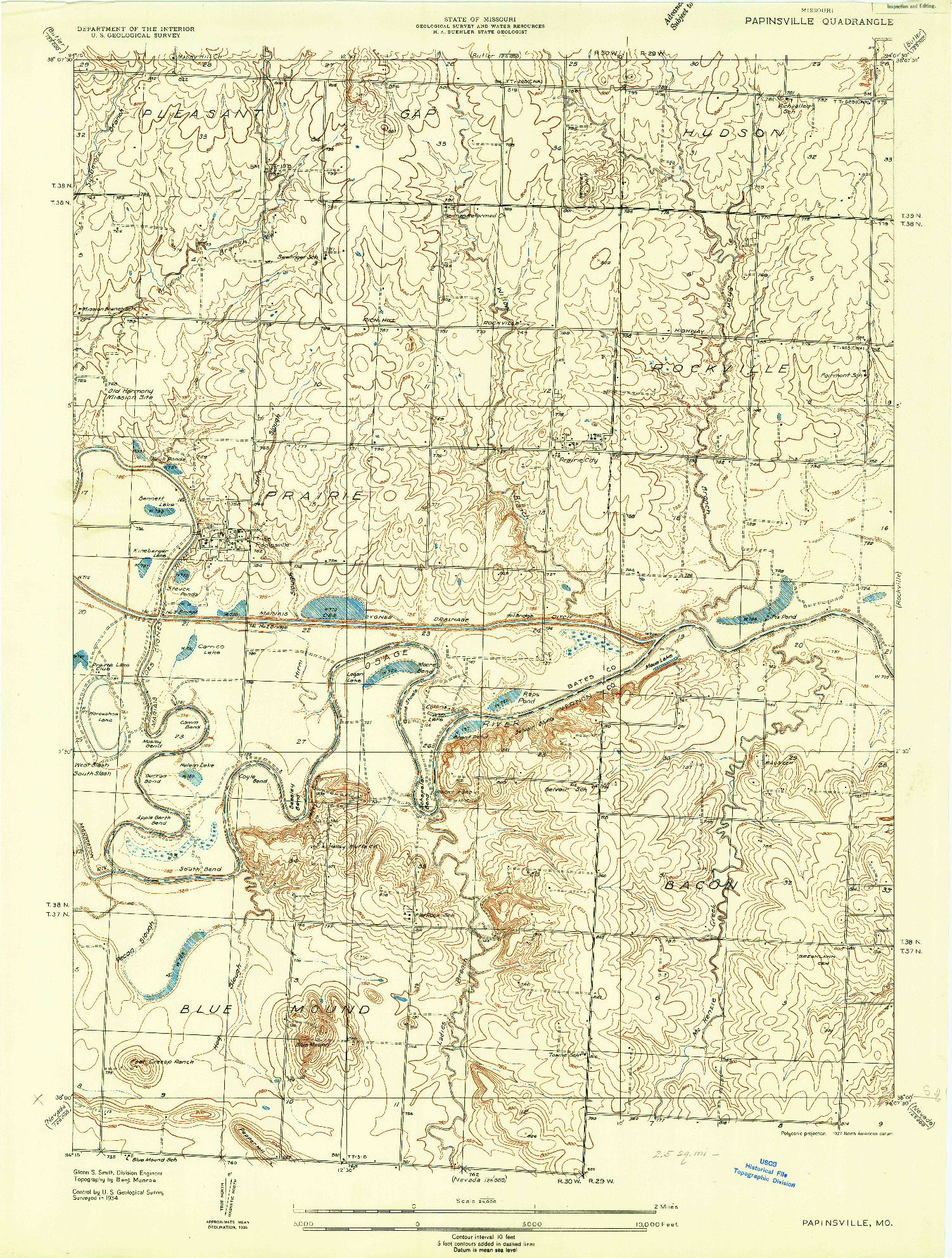USGS 1:24000-SCALE QUADRANGLE FOR PAPINSVILLE, MO 1934