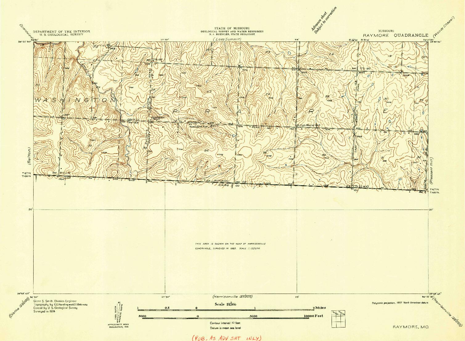 USGS 1:24000-SCALE QUADRANGLE FOR RAYMORE, MO 1934