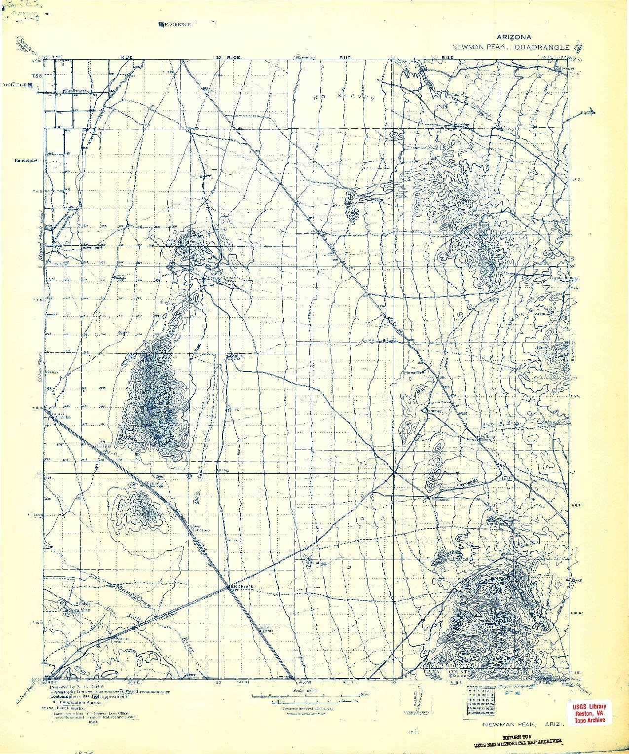 USGS 1:125000-SCALE QUADRANGLE FOR NEWMAN PEAK, AZ 1934