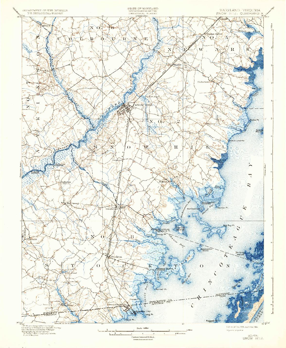 USGS 1:62500-SCALE QUADRANGLE FOR SNOW HILL, MD 1901