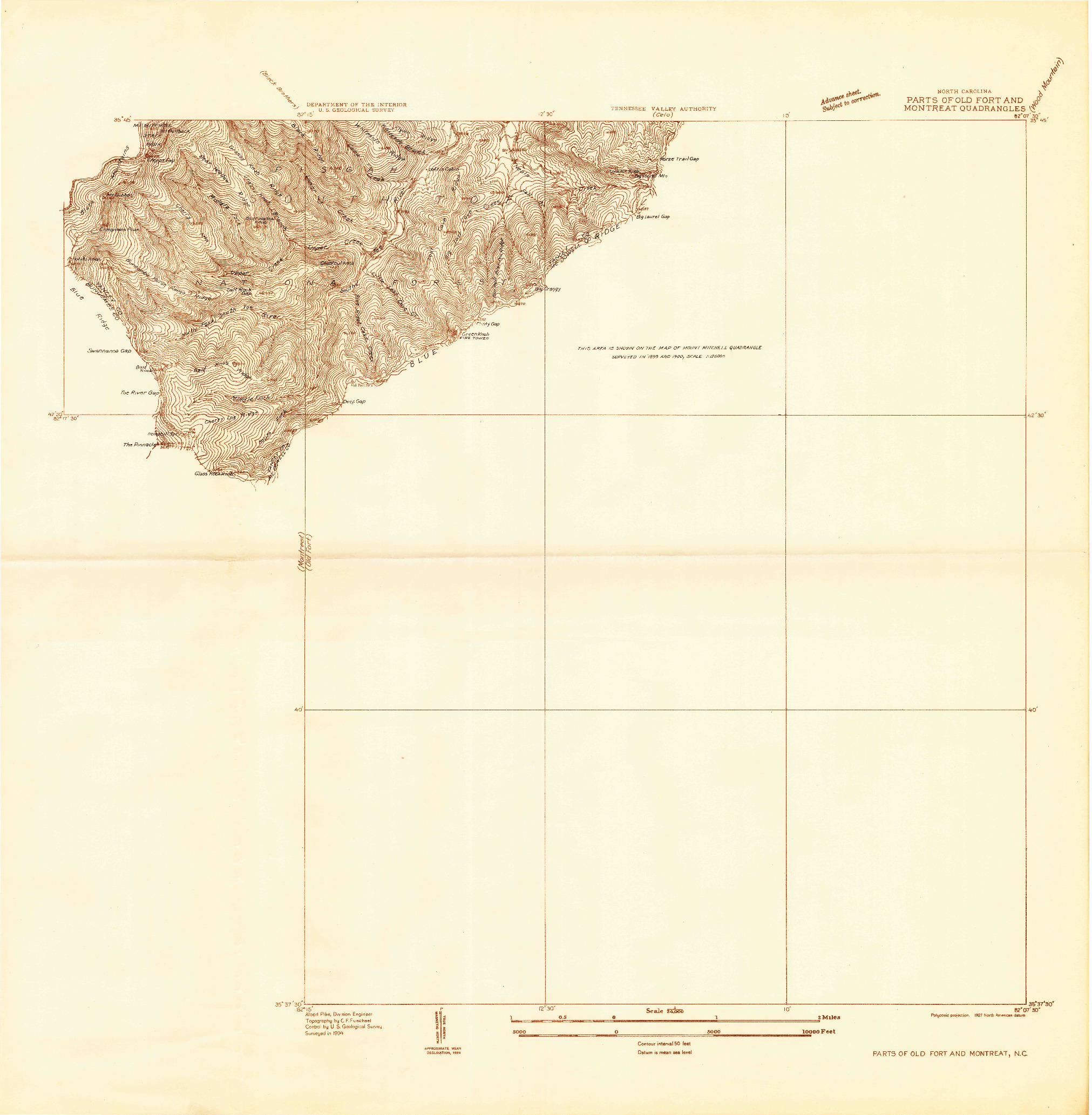 USGS 1:24000-SCALE QUADRANGLE FOR PARTS OF OLD FORT AND MONTREAT, NC 1934
