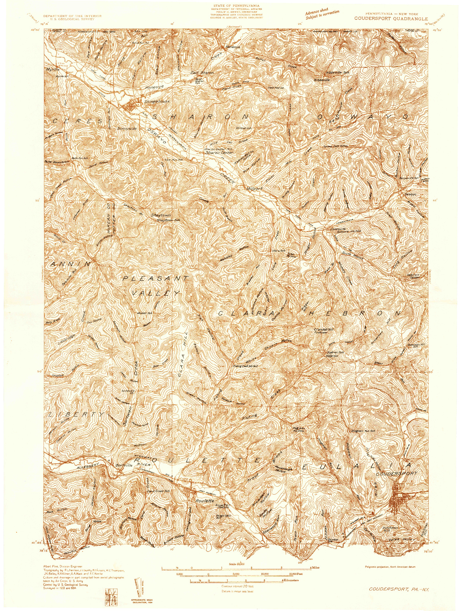 USGS 1:48000-SCALE QUADRANGLE FOR COUDERSPORT, PA 1934